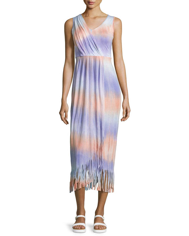 Neiman Marcus Tie-dye Fringed Sleeveless Maxi Dress in ...