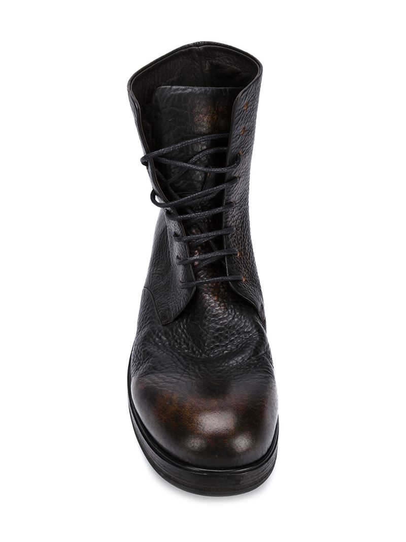 mars 232 ll distressed lace up boots in black for lyst