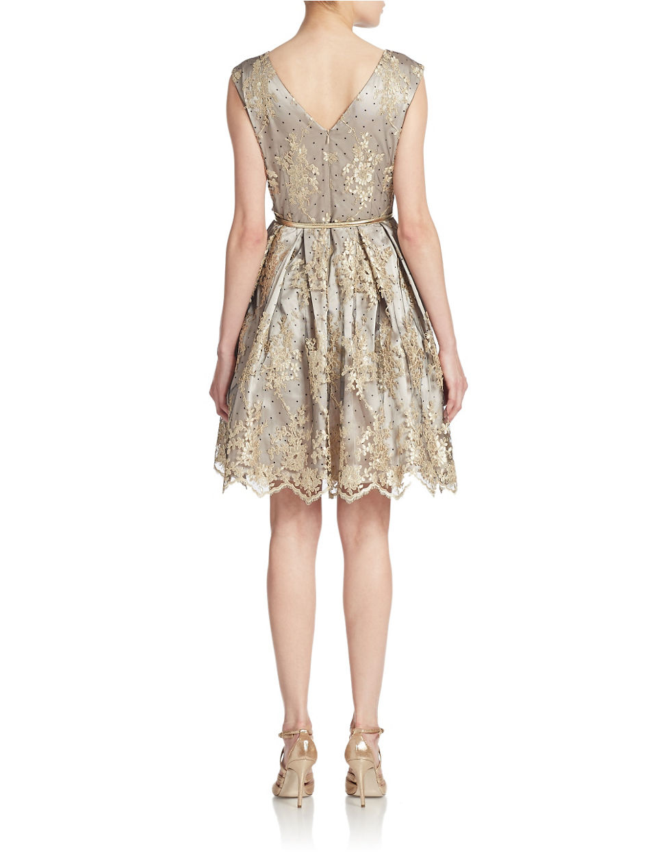 eliza j belted lace fit and flare dress in gold chagne