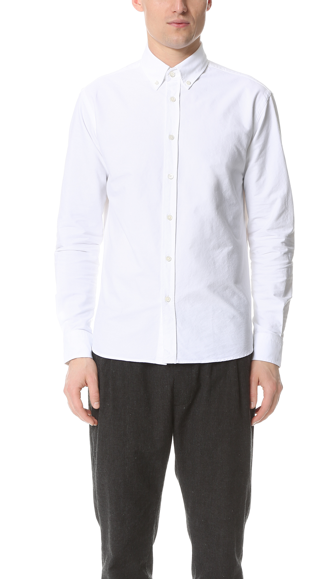 Capital goods button down oxford shirt in white for men lyst for White button down oxford shirt