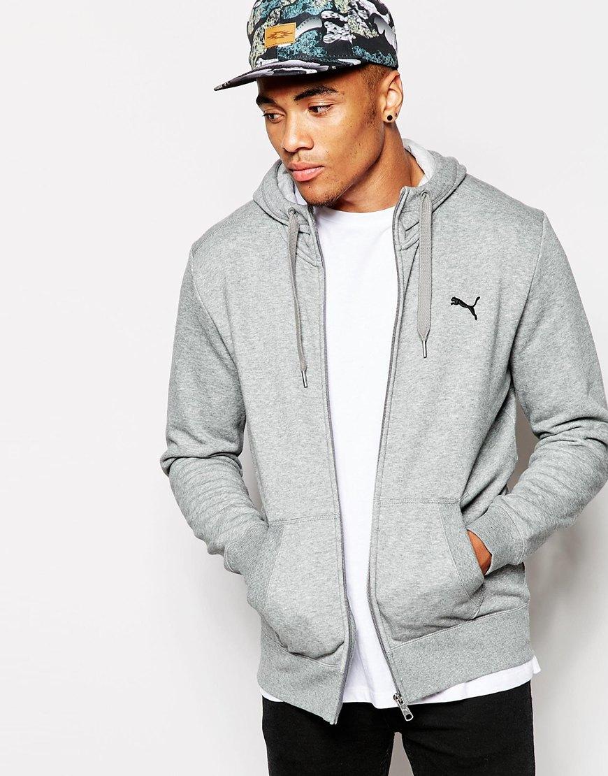 PUMA Fleece Zip Up Hoodie in Gray for Men - Lyst