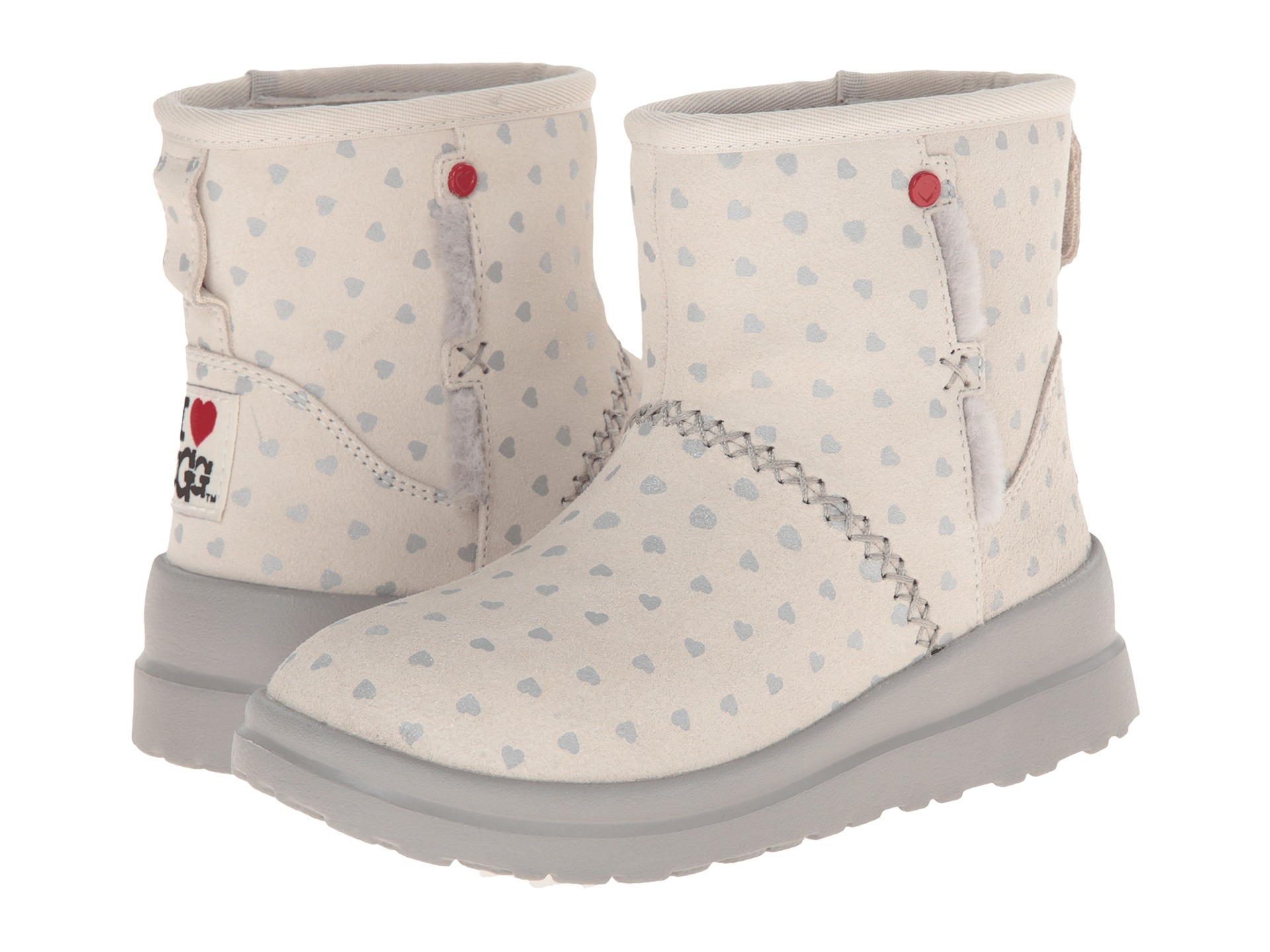 Womens Boots UGG Kisses Mini Silver Hearts Suede