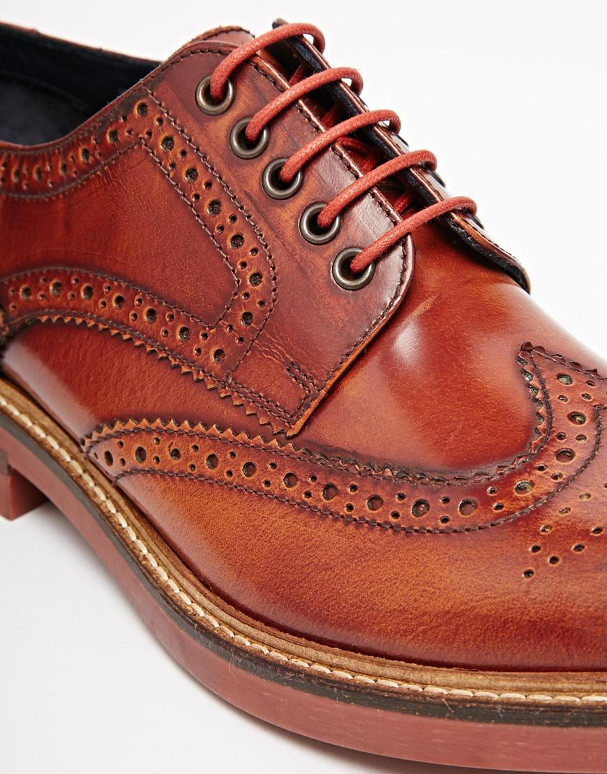 Lyst - Base London Woburn Hi-shine Leather Brogues in Brown for Men f9c78d83c8b