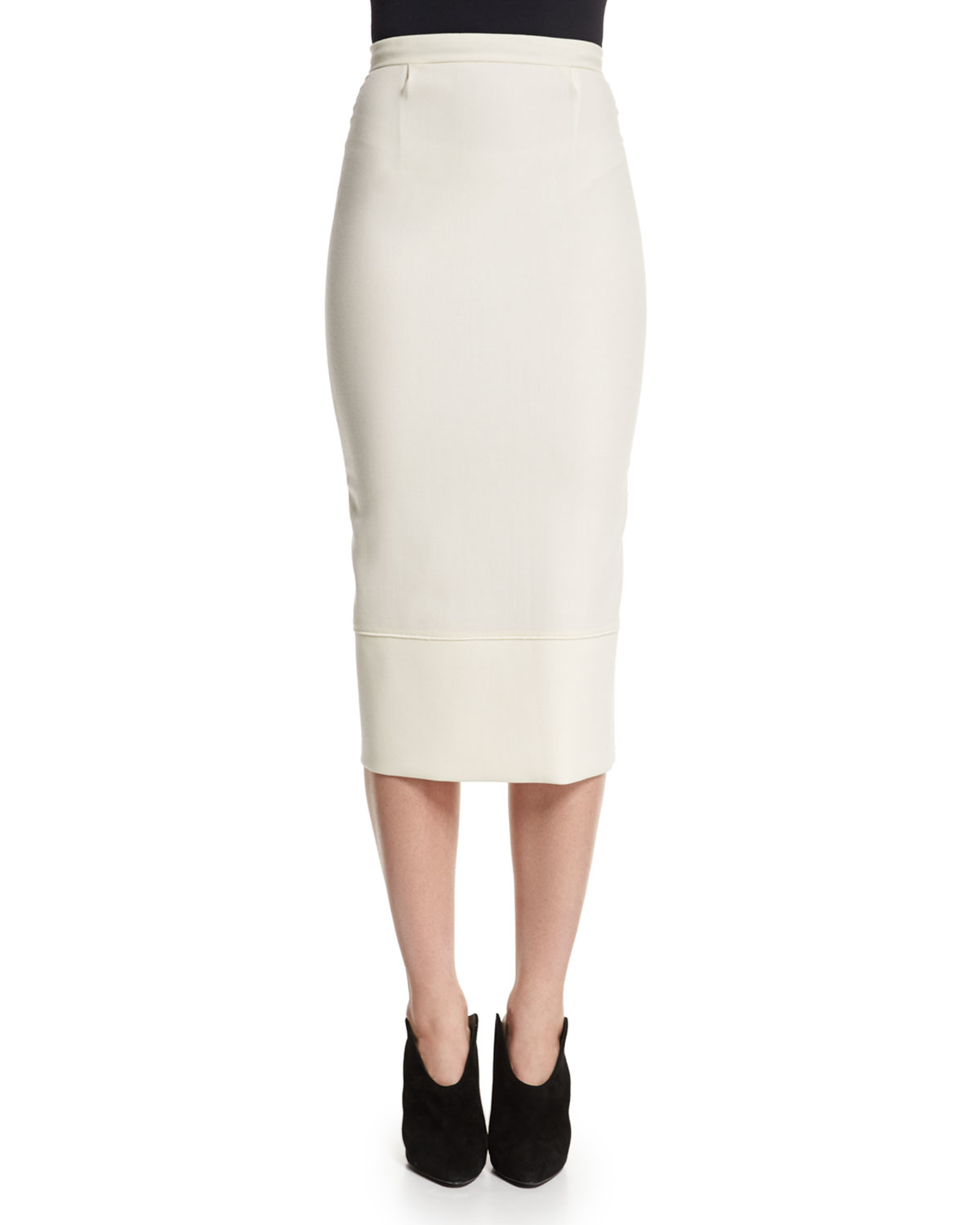 Roland mouret Galaxy Fitted Pencil Skirt in White | Lyst