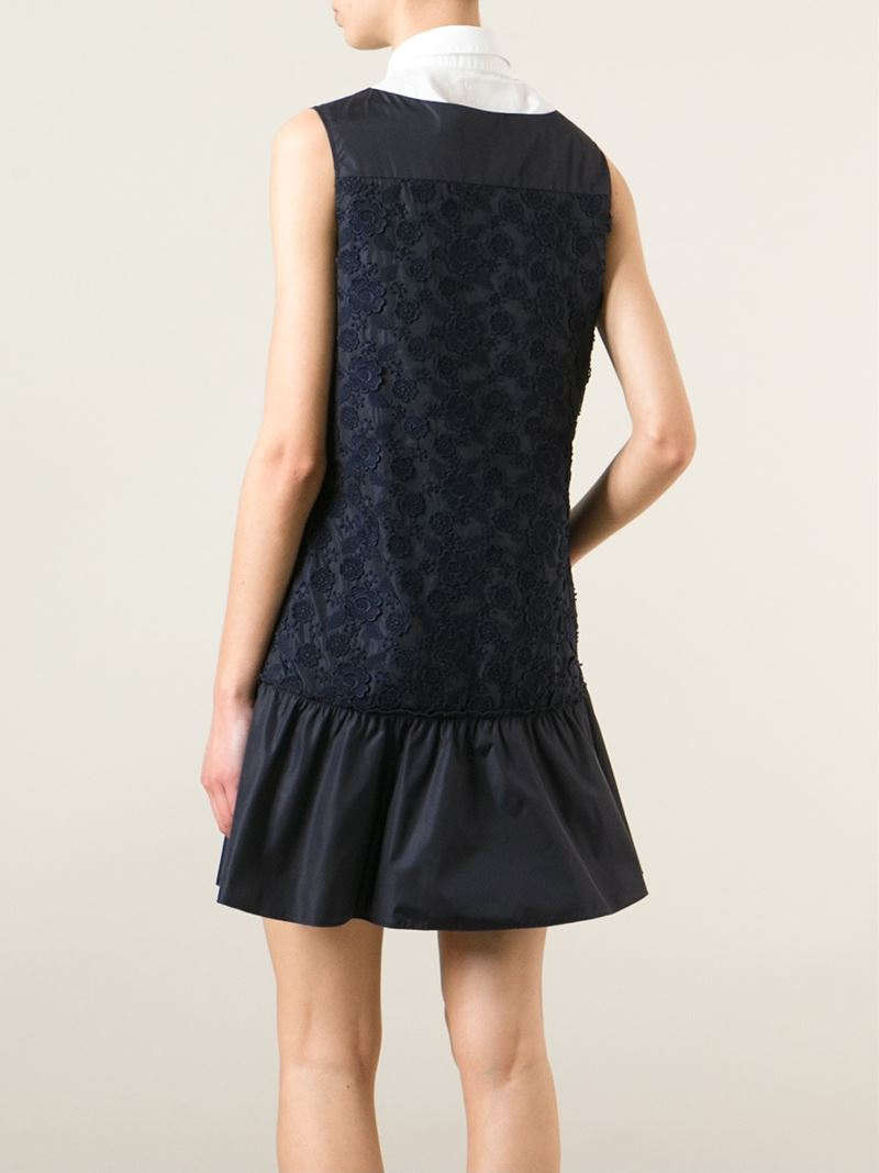 Lyst moncler sleeveless embroidered dress in blue