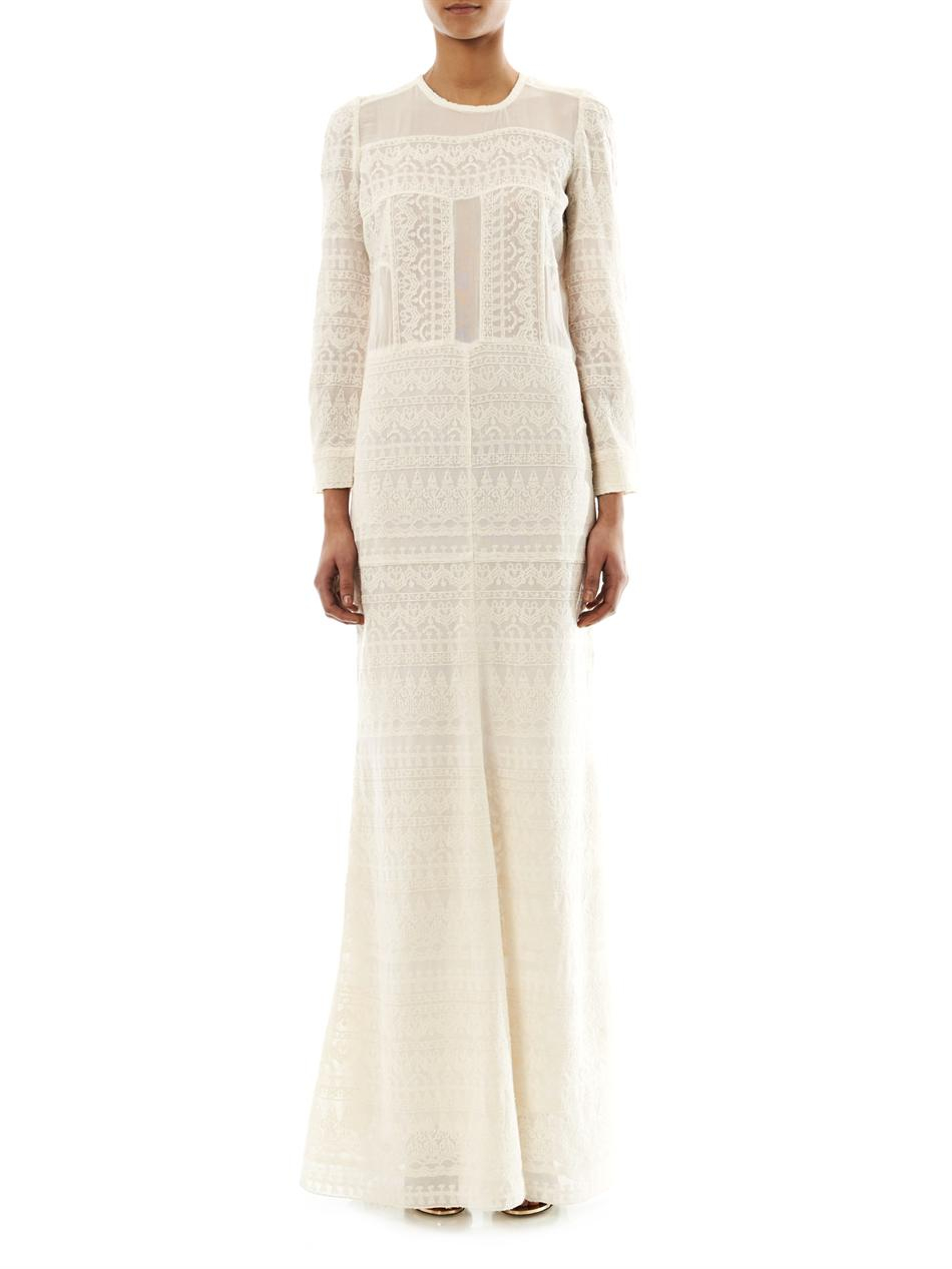71546a608a804 Lyst - Isabel Marant Talma Embroidered Maxi Dress in White