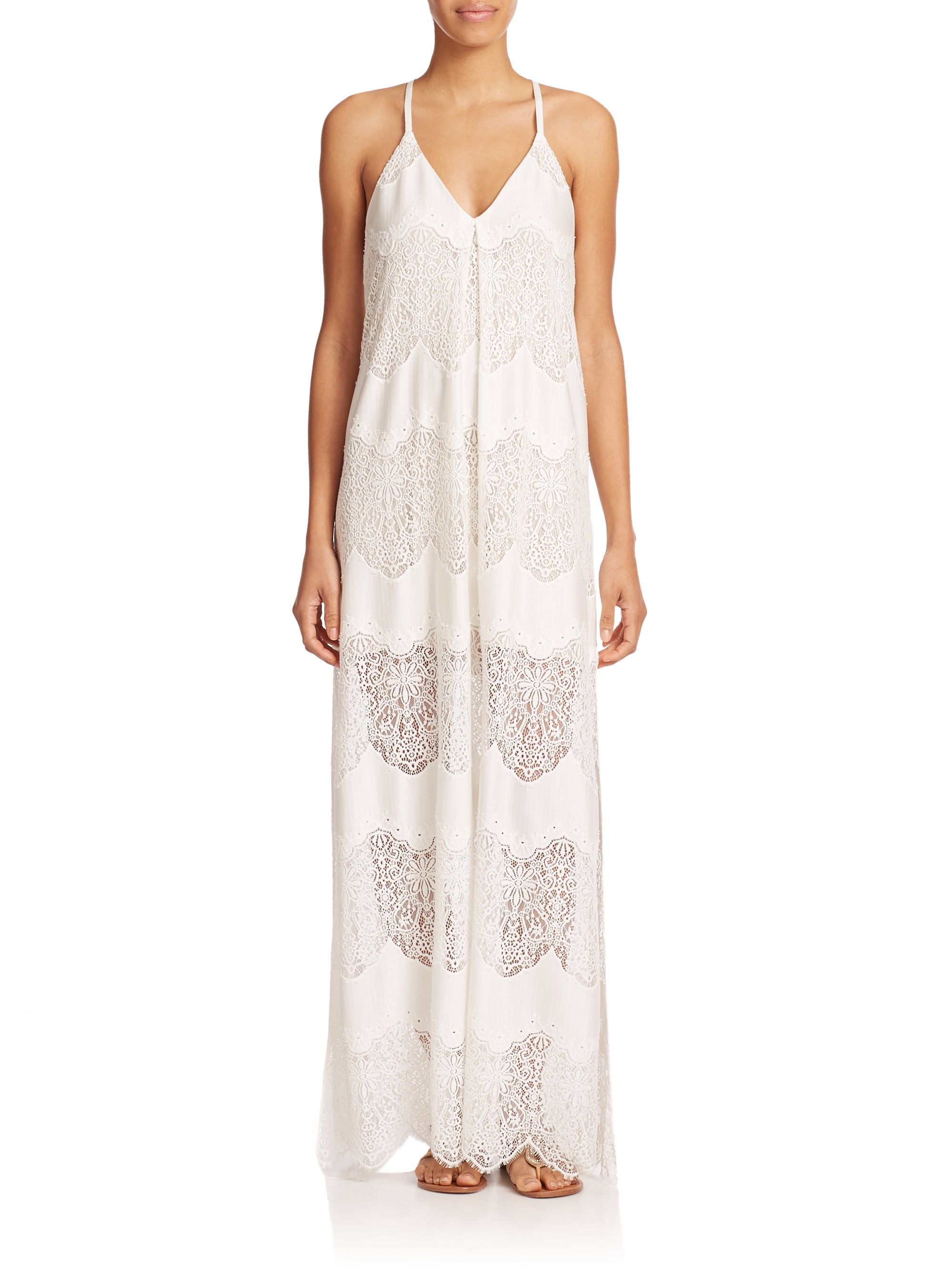 Alice   olivia Vandy Lace Maxi Dress in White | Lyst