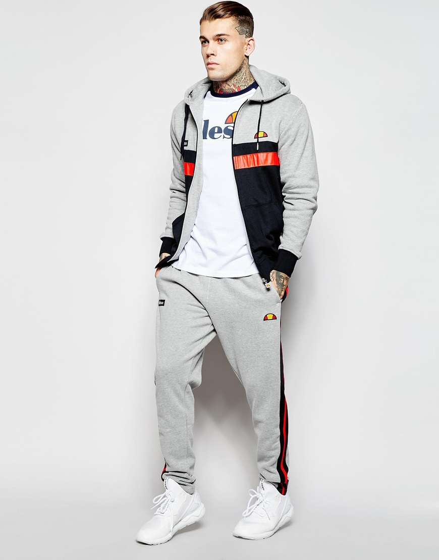 56604331 Ellesse Gray Joggers With Side Detail for men