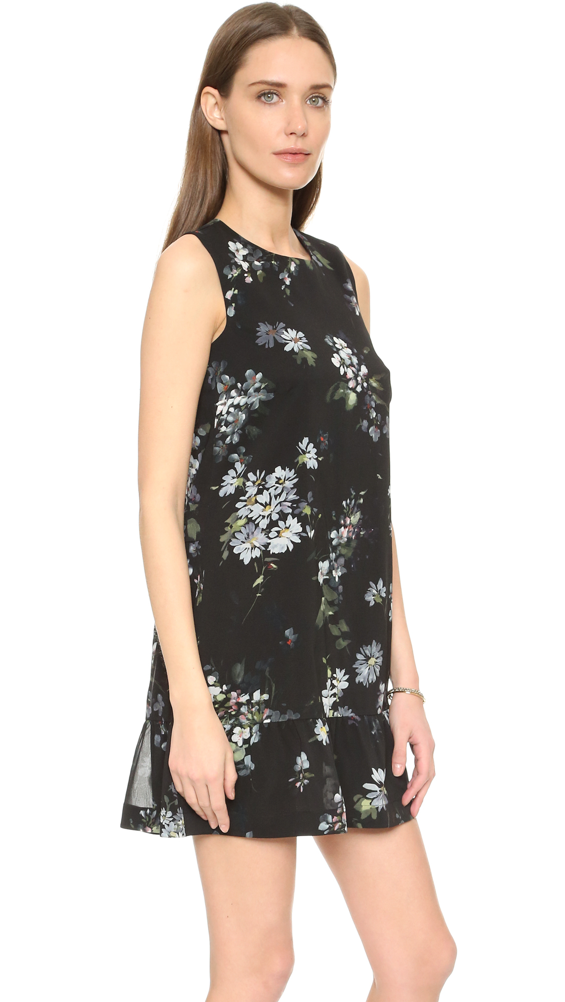 Red Valentino Spring 2016: Red Valentino Open Back Dress With Ruffled Hem In Black