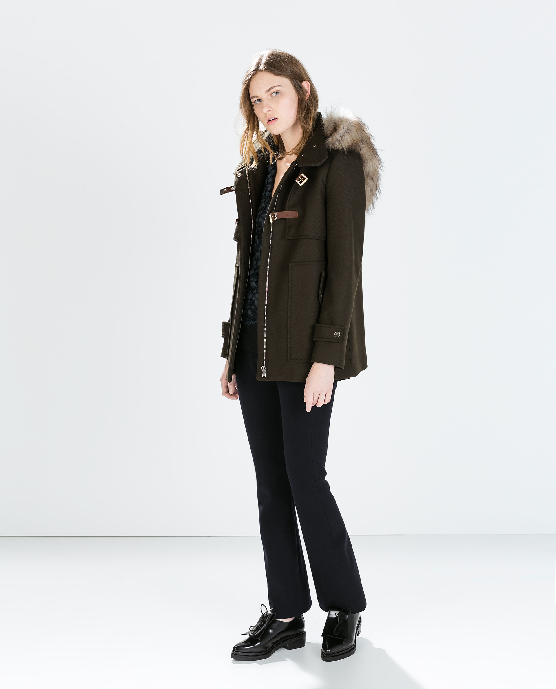 Zara Wool Duffle Coat with Fur Hood in Green | Lyst