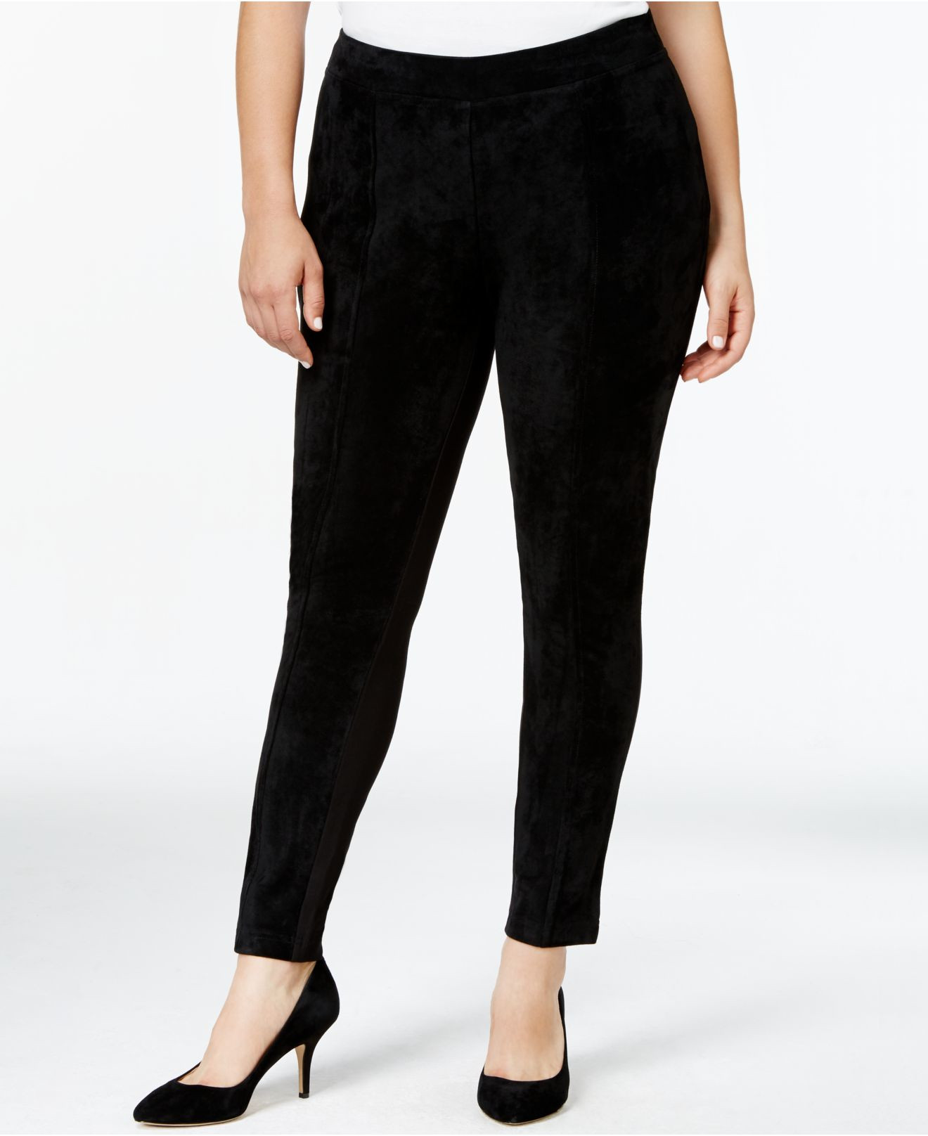 calvin klein plus size faux suede front leggings in black lyst. Black Bedroom Furniture Sets. Home Design Ideas