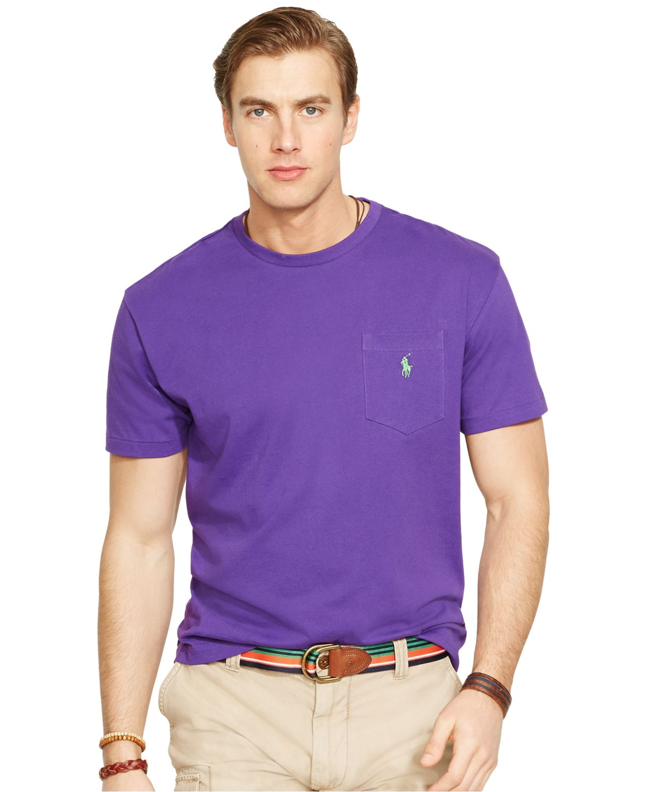 Neck Purple Lauren Shirt Crew Ralph Pocket T For Men Polo OPN8k0Xnw