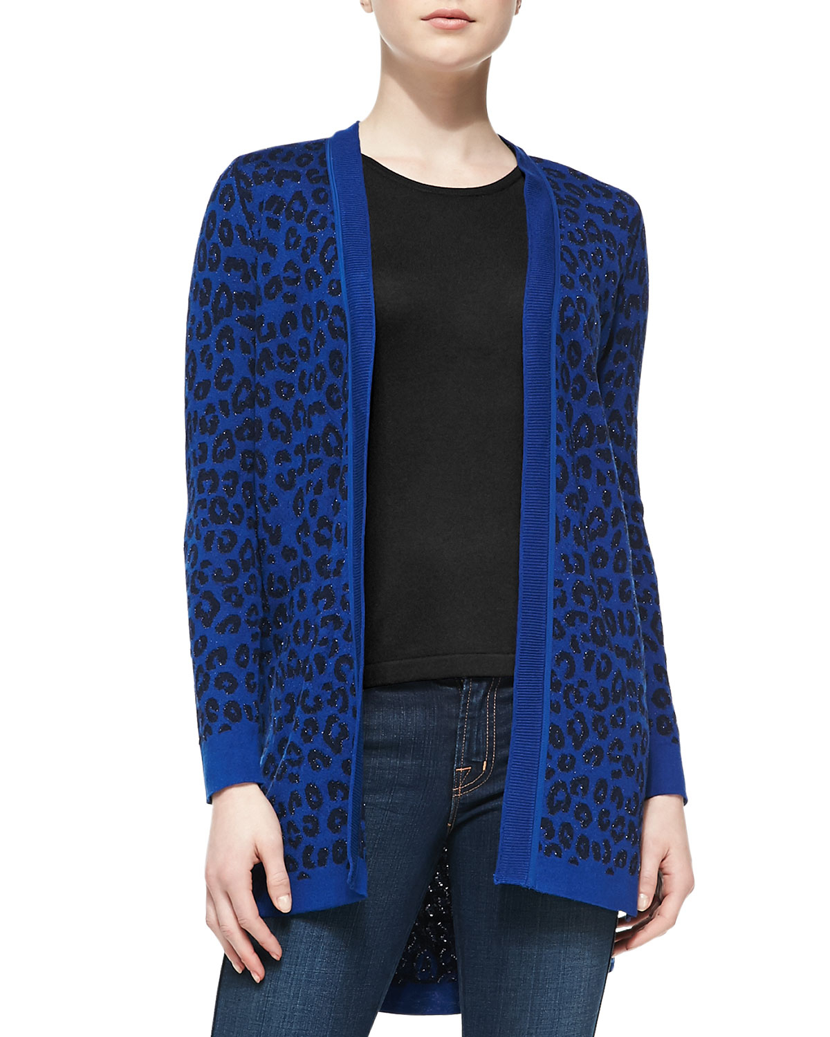 Magaschoni Long Open-front Leopard-print Cardigan in Black | Lyst