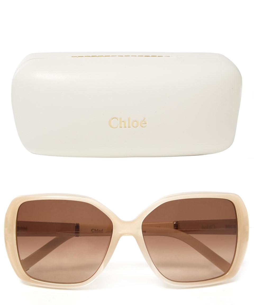 Chloé Light Grey Daisy Oversized Sunglasses in Grey