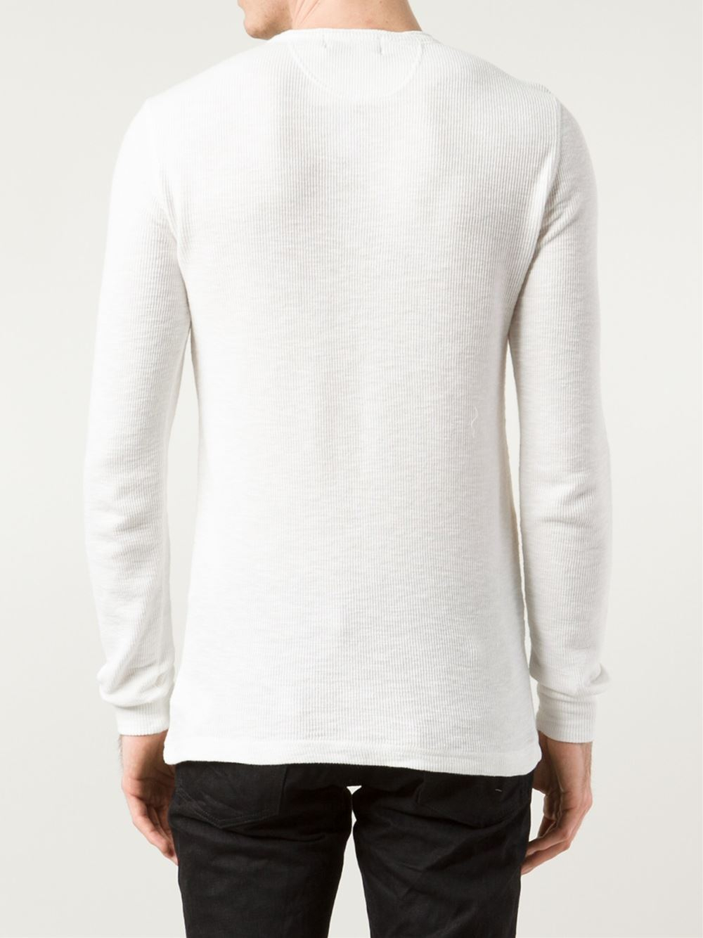 Rrl ribbed henley t shirt in white for men lyst for Mens ribbed t shirts