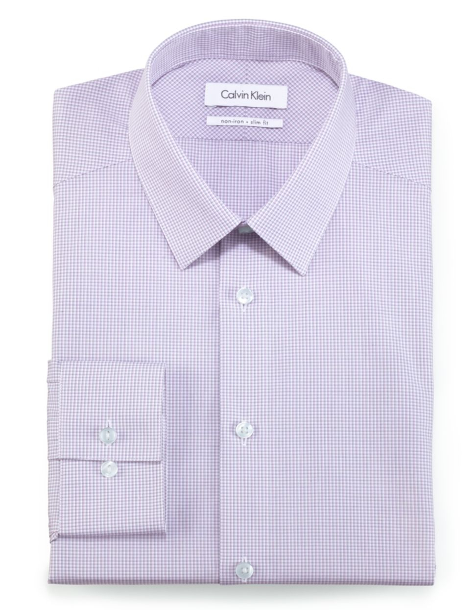 calvin klein slim fit non iron dress shirt in purple for