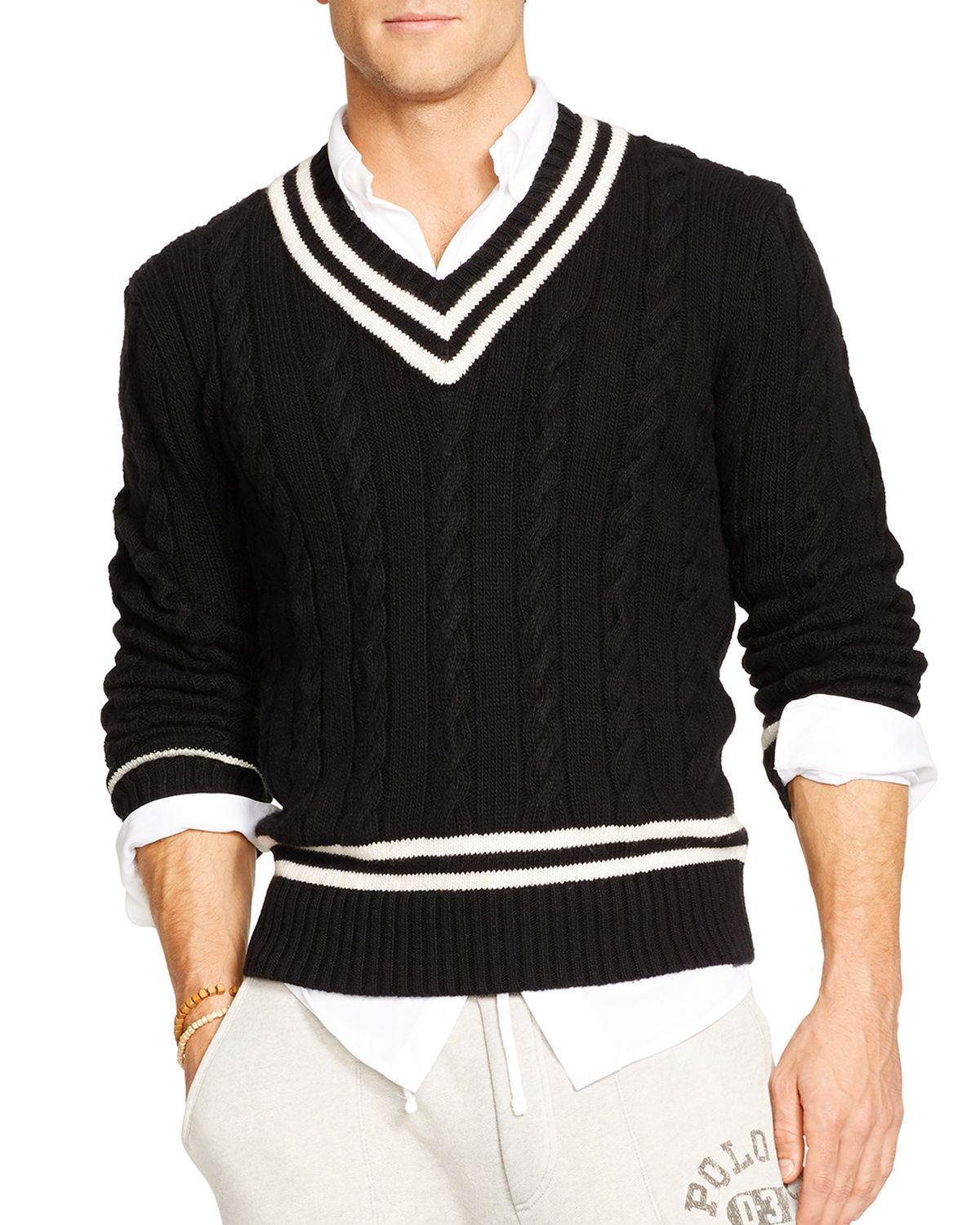 Lyst Ralph Lauren Polo Cable Knit Cricket Sweater In Black For Men