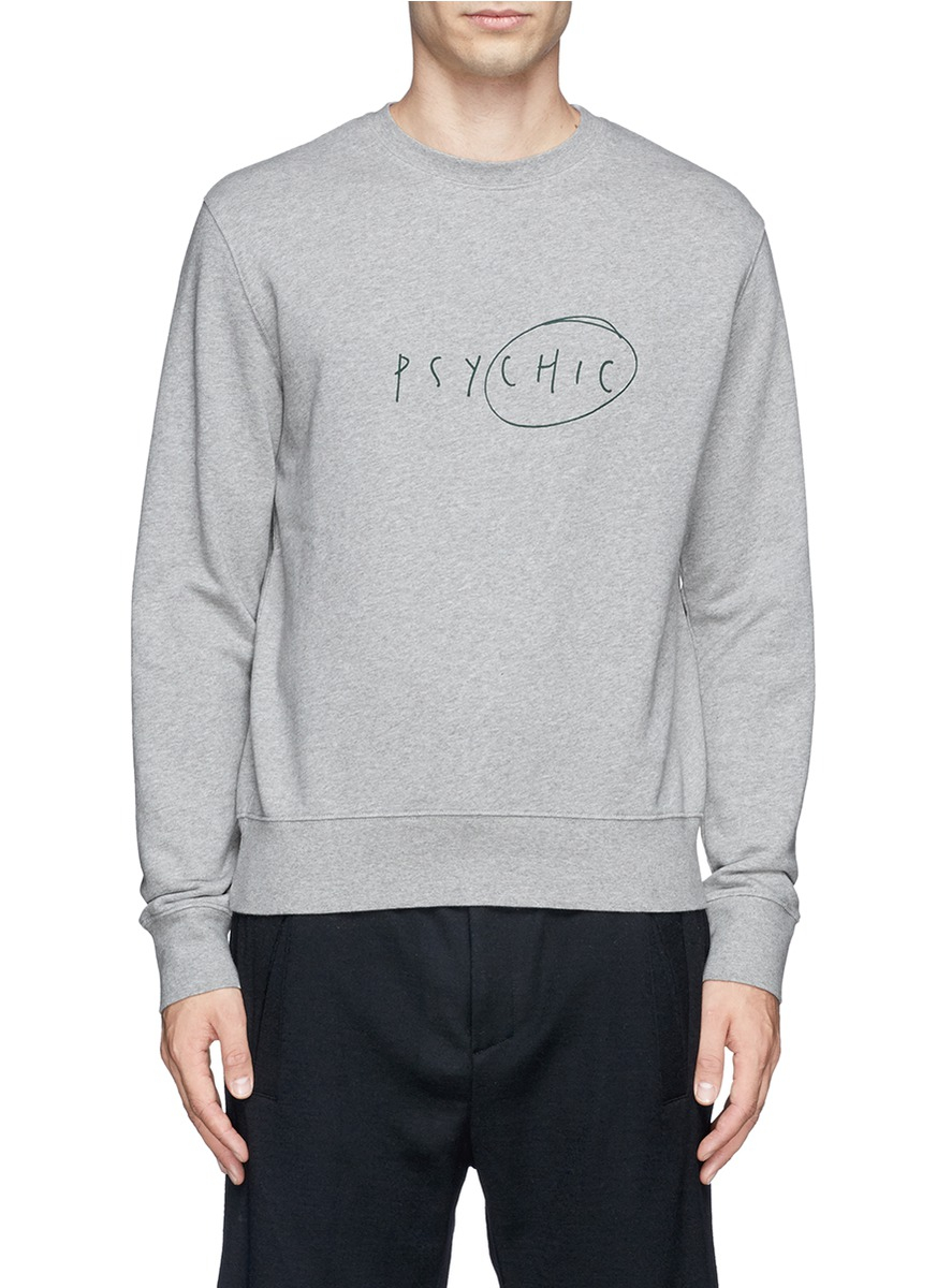 lyst acne studios 39 casey 39 slogan print cotton sweater in gray for men. Black Bedroom Furniture Sets. Home Design Ideas