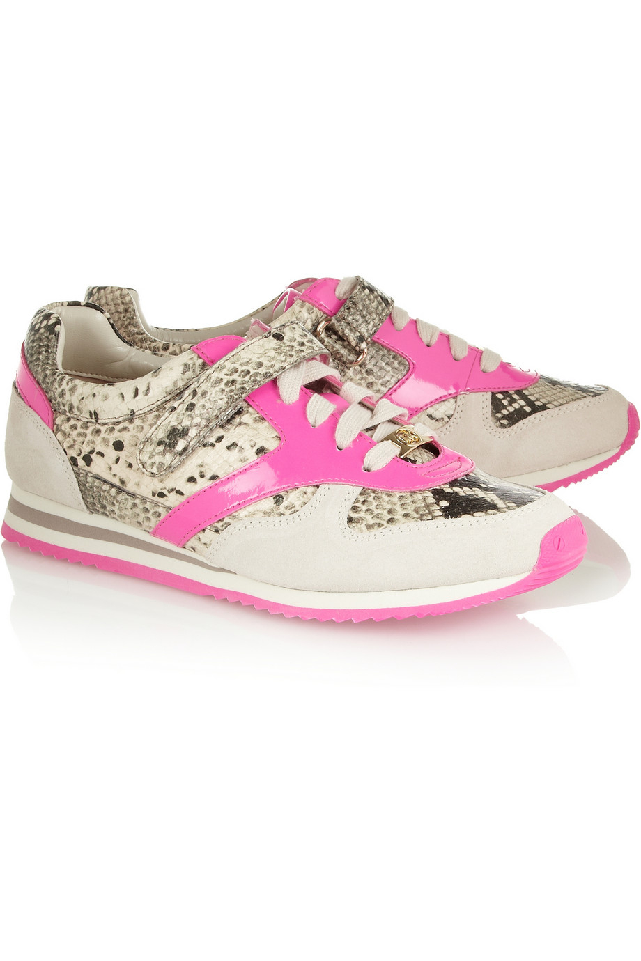 MICHAEL Michael Kors Alexandra Snakeeffect Leather and Suede Sneakers in Snake Print (Pink)