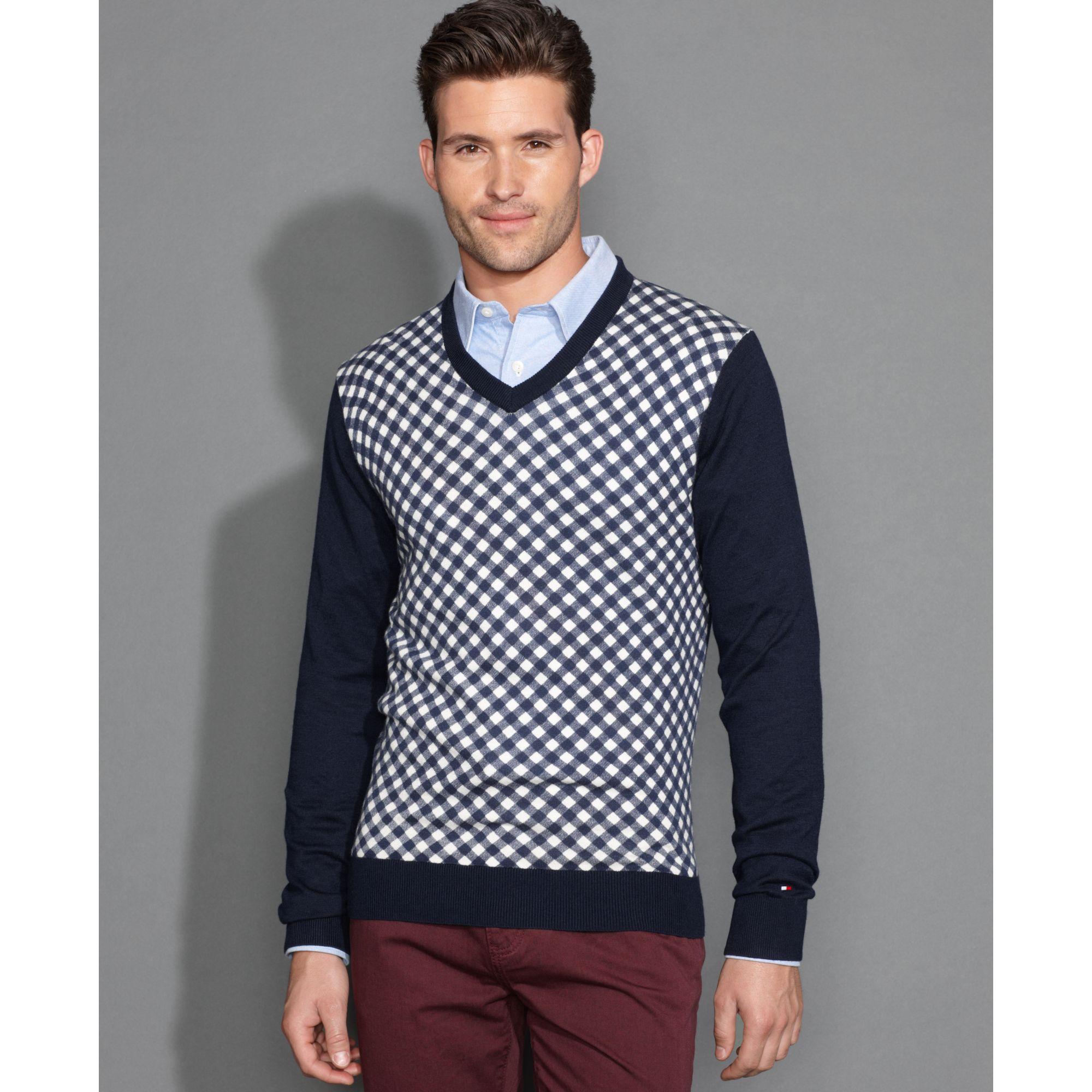 tommy hilfiger american printed v neck sweater for men lyst. Black Bedroom Furniture Sets. Home Design Ideas