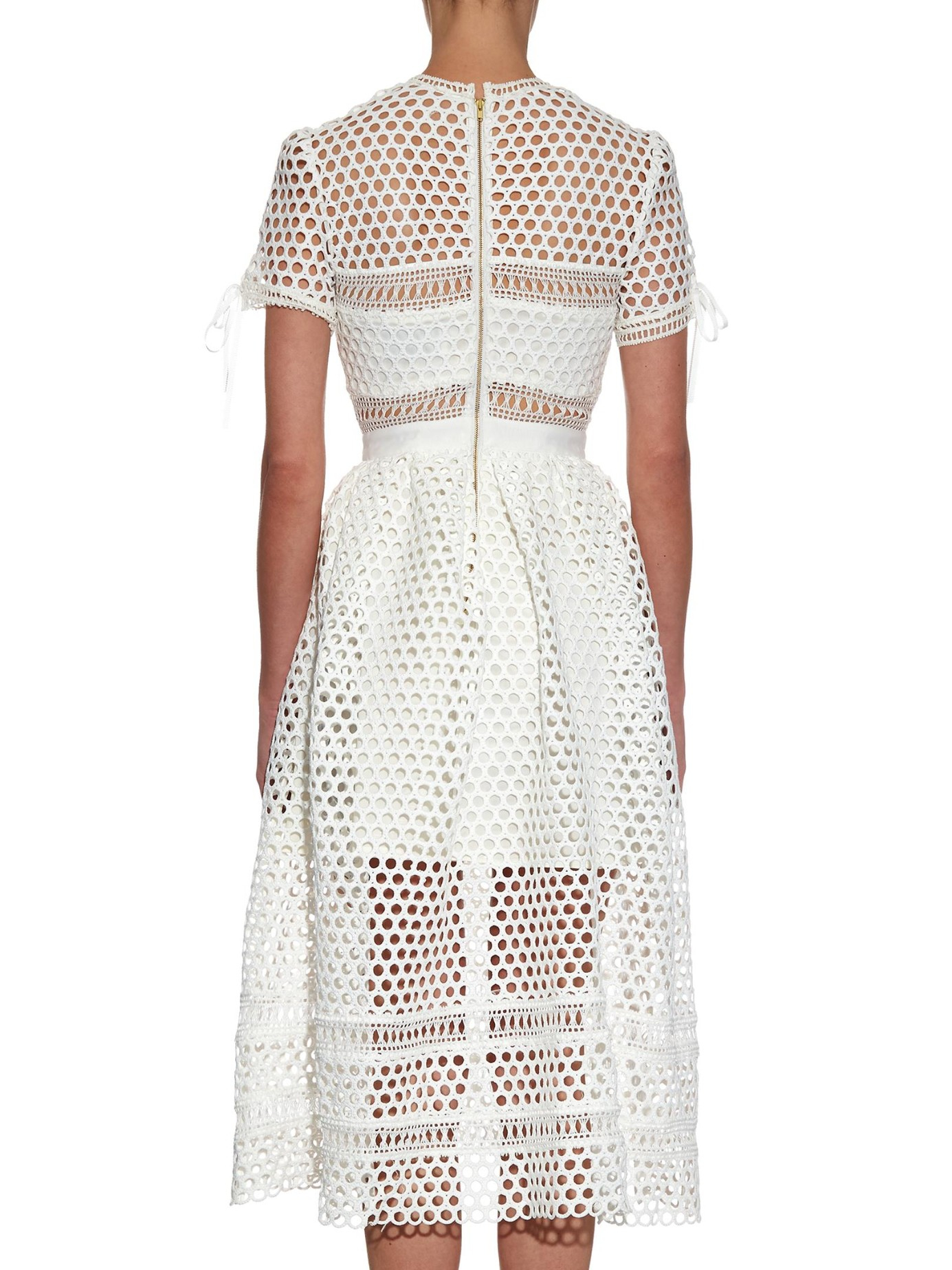 Self Portrait Panelled Lace Midi Dress In White Lyst