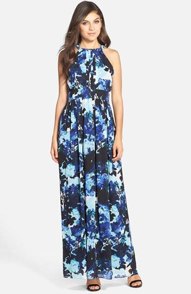 Eliza j floral pleated chiffon maxi dress