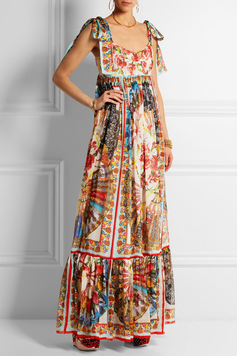 Fringe-trimmed striped maxi dress Dolce & Gabbana Sale Official Cheap Sale For Nice Order Bqjv3