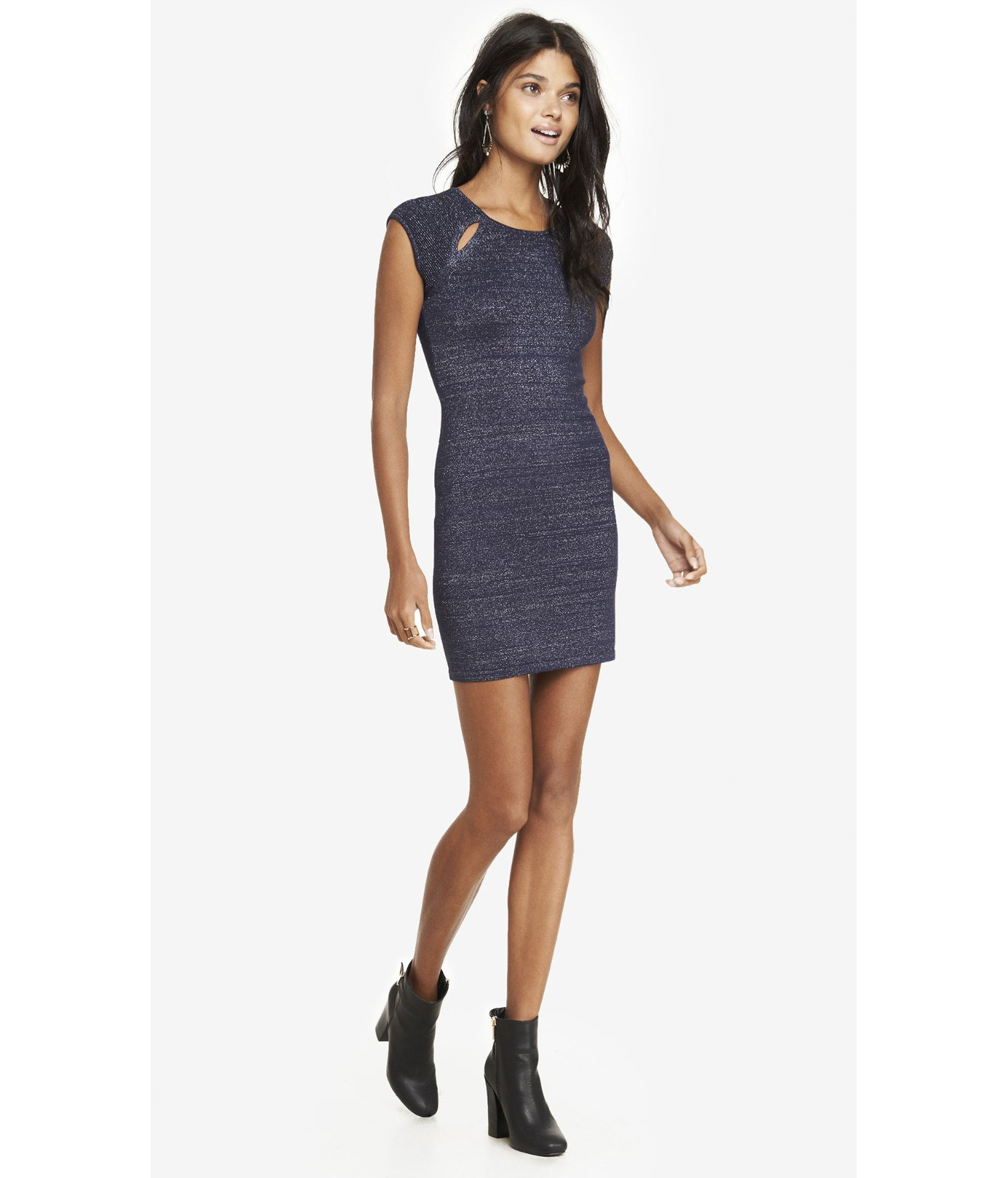 Express Metallic Cut-Out Sweater Dress in Blue   Lyst