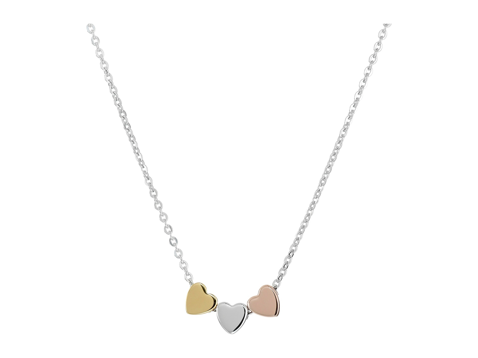 Lyst fossil sterling silver heart necklace gallery mozeypictures Gallery