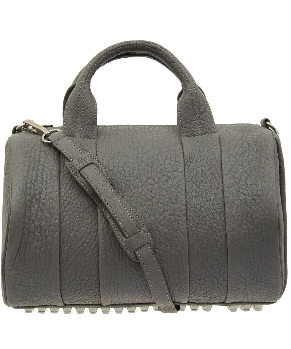 alexander wang grey rocco bag with rhodium studs in gray. Black Bedroom Furniture Sets. Home Design Ideas