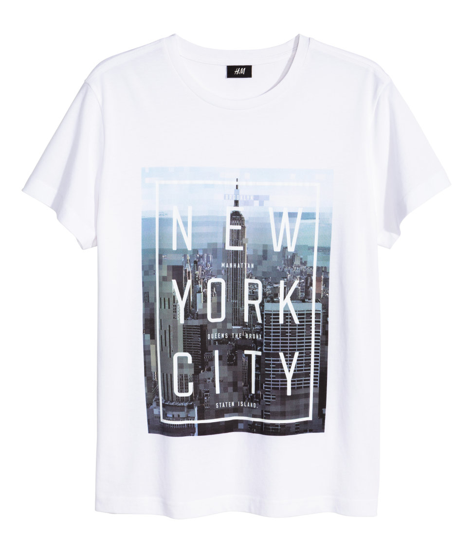 Lyst Hm T Shirt With A Print In White For Men