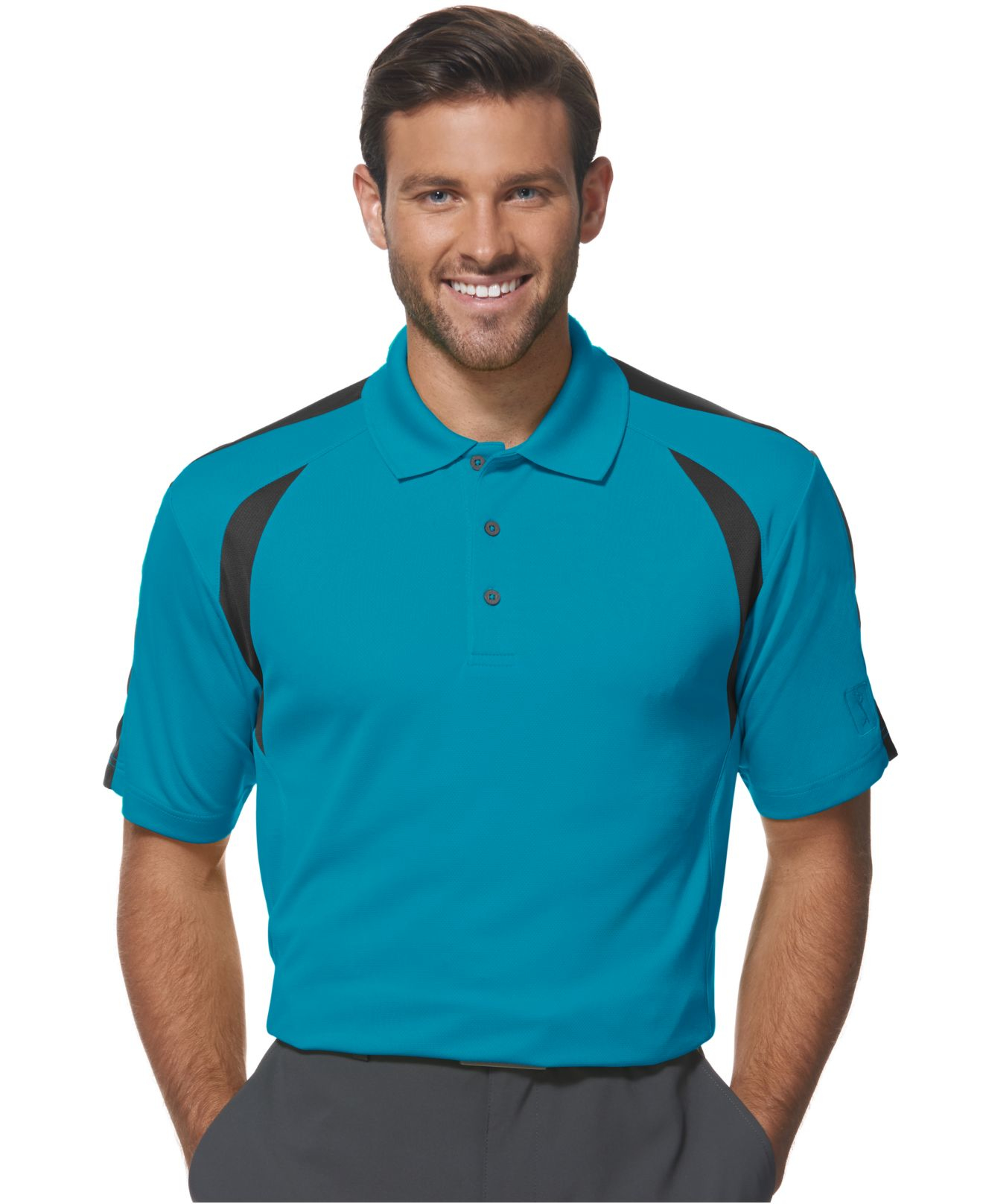 pga tour colorblocked performance golf polo in blue for