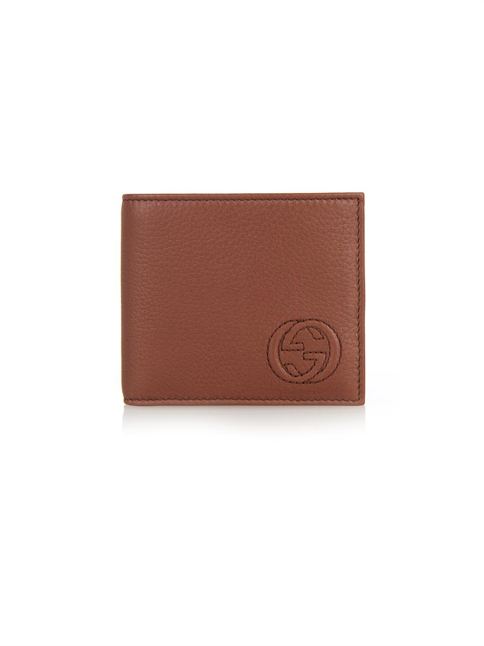 Lyst - Gucci Stitched-Logo Leather Wallet in Brown for Men
