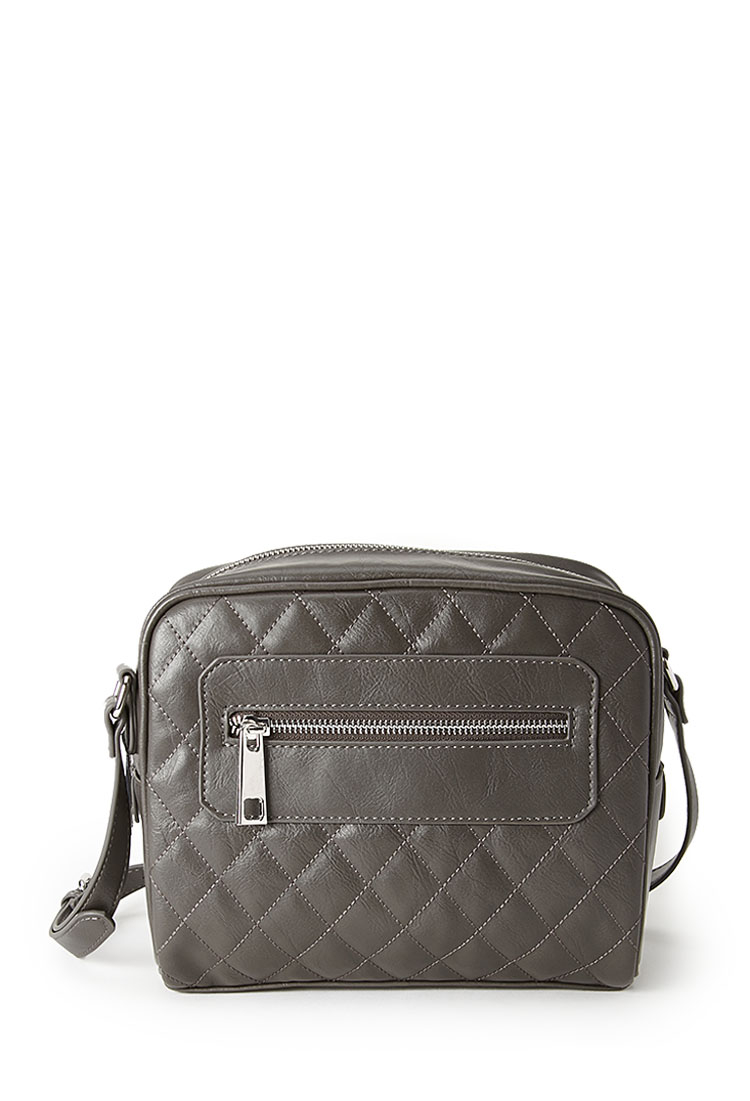 Forever 21 Quilted Faux Leather Crossbody Bag In Gray | Lyst