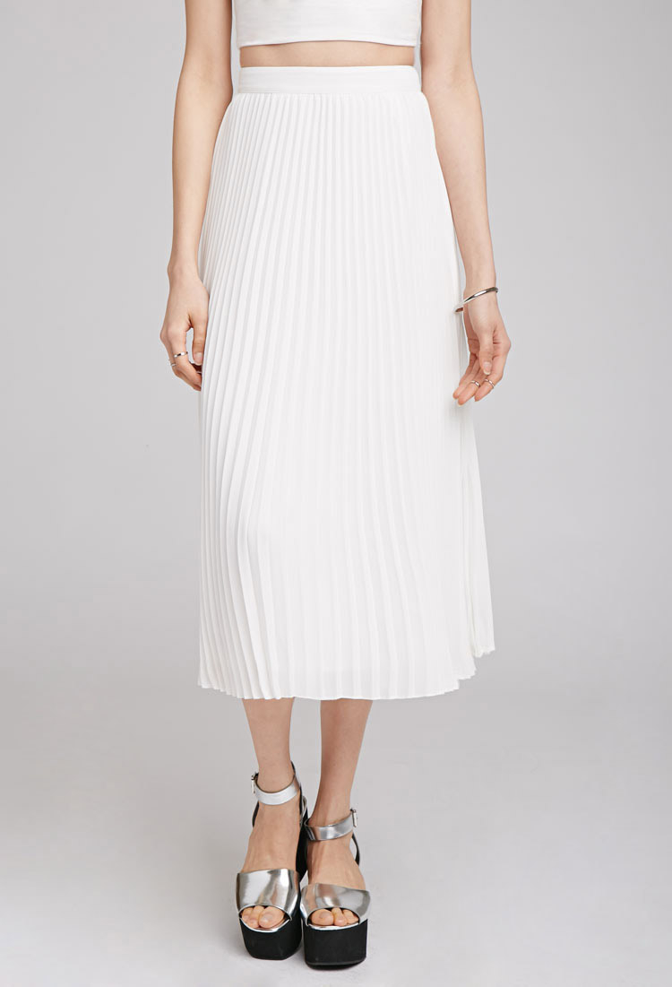 60fb894f2d Forever 21 Accordion Pleat Midi Skirt in White - Lyst