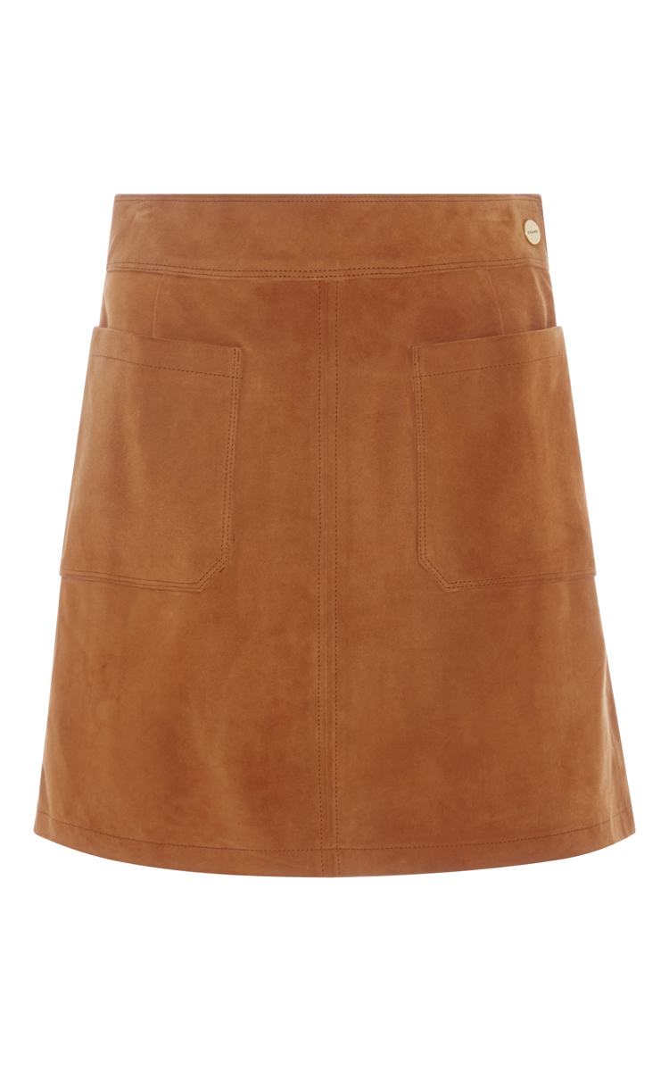 frame le high a line mini suede skirt in brown lyst