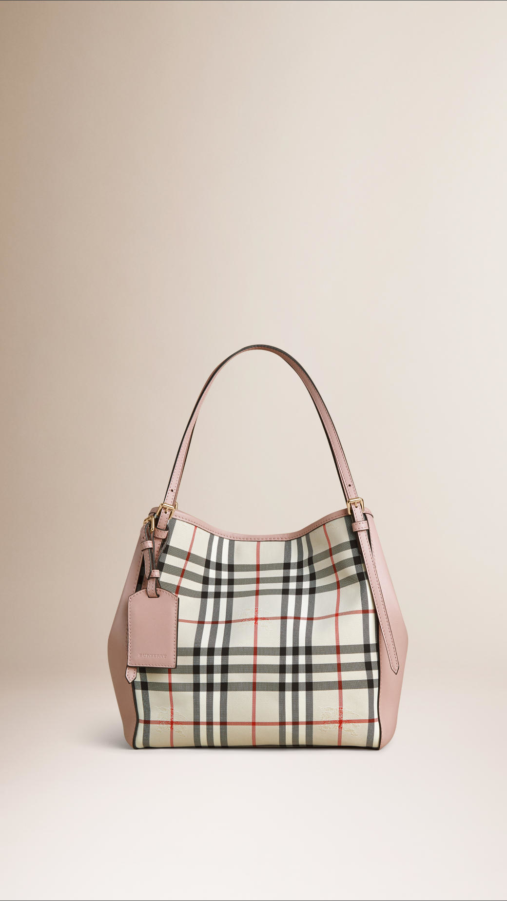 1fb65a8498d3 Burberry The Small Canter In Horseferry Check And Leather Stone pale ...