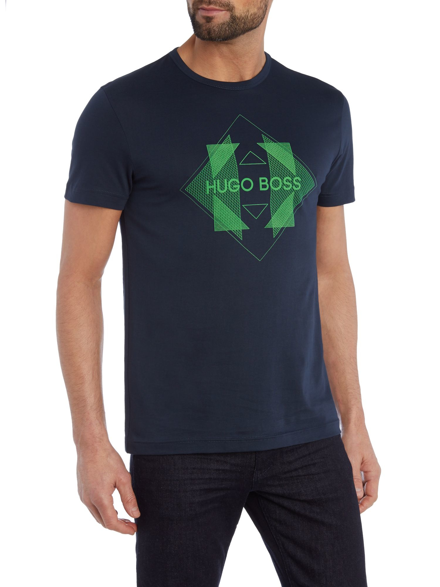 Boss tee 2 regular fit diamond logo printed t shirt in for Logo printed t shirts