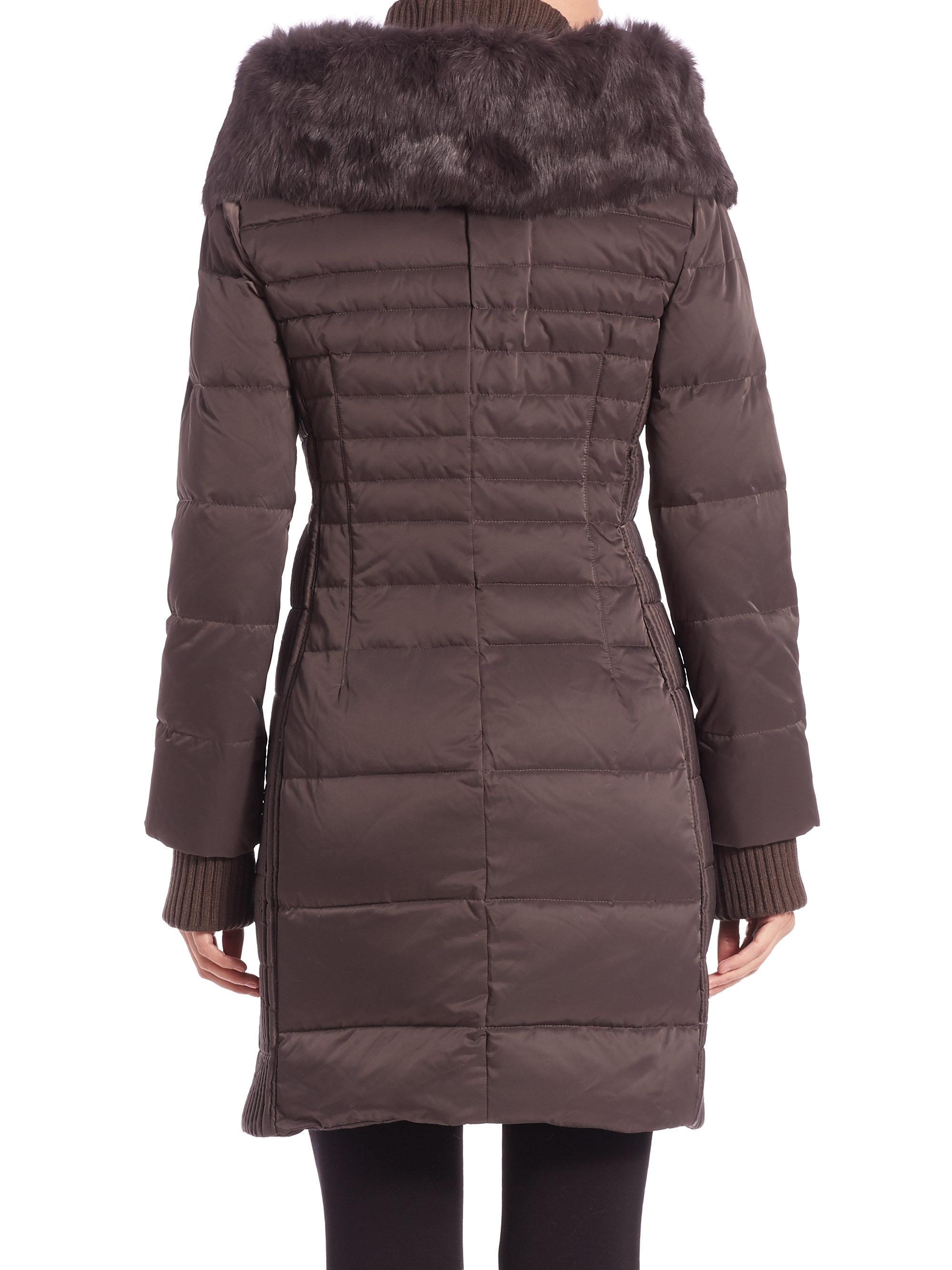 Elie Tahari Paula Fur Trimmed Puffer Coat In Brown Lyst