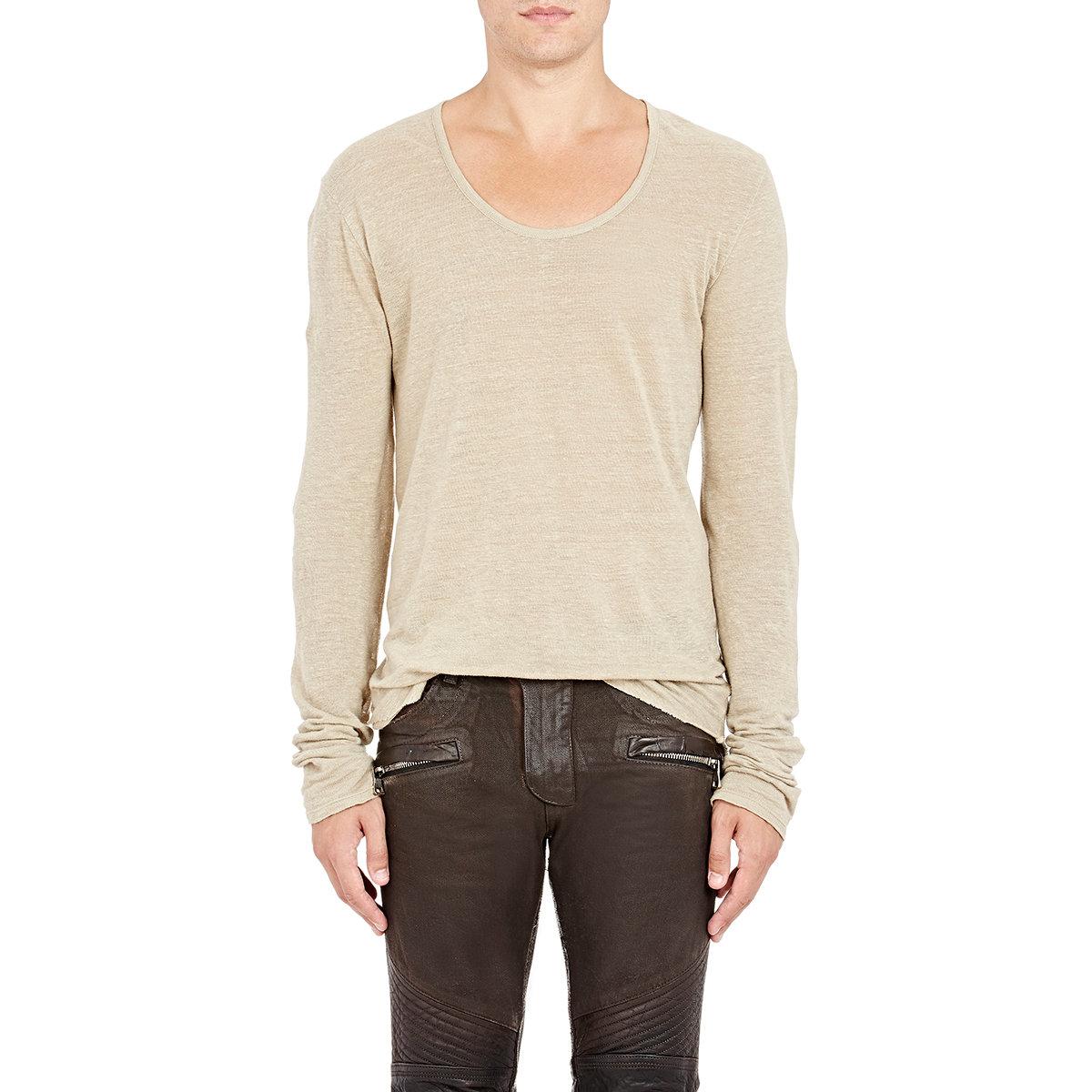 Balmain Men S Slub Jersey T Shirt In Natural For Men Lyst