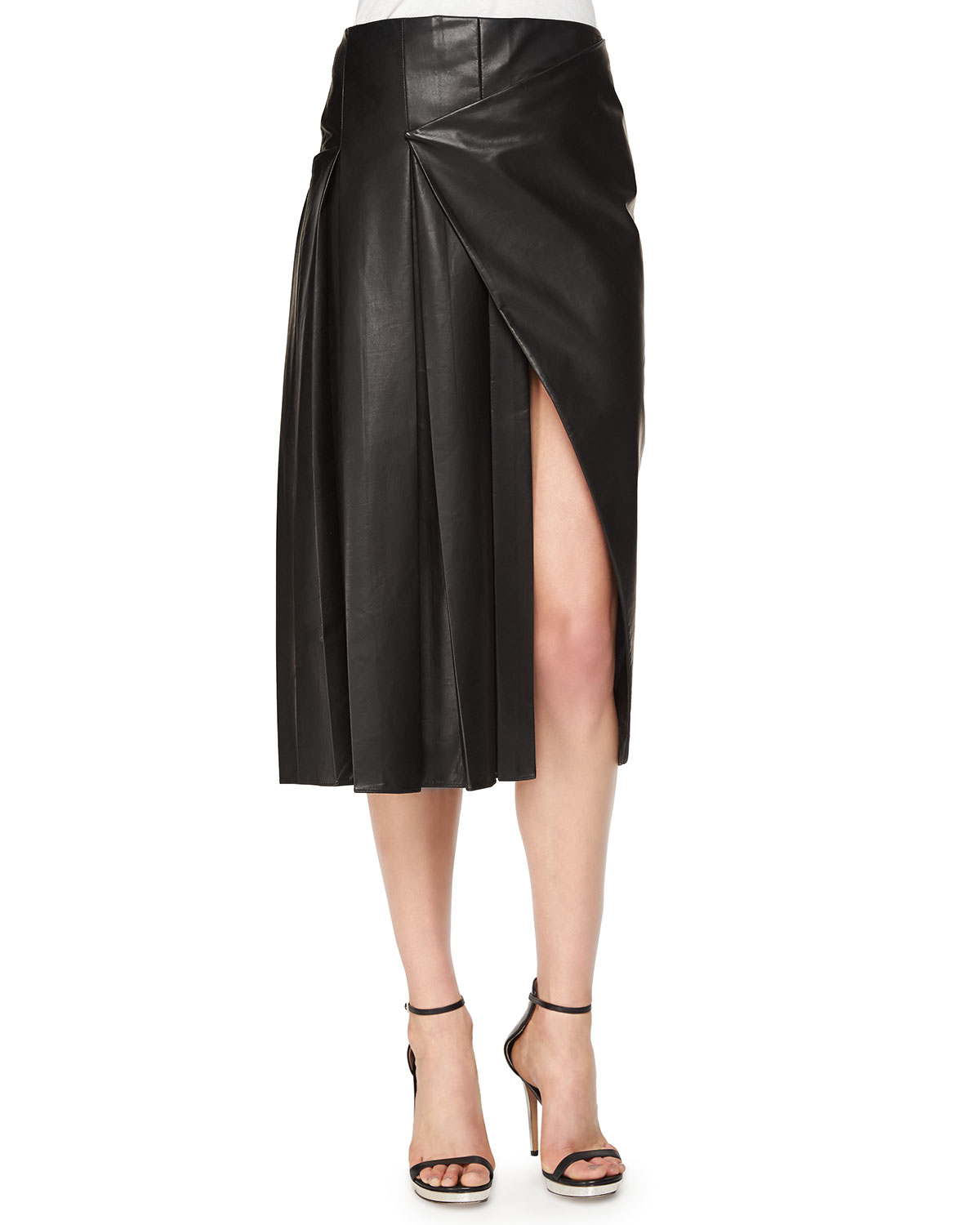 prabal gurung faux wrap pleated leather midi skirt in