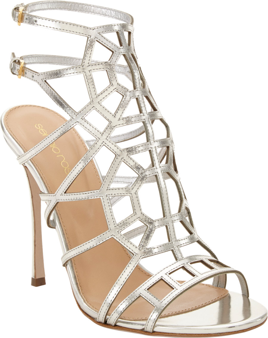 0879a2d4a15 Lyst - Sergio Rossi Puzzle Caged Evening Sandal in Metallic