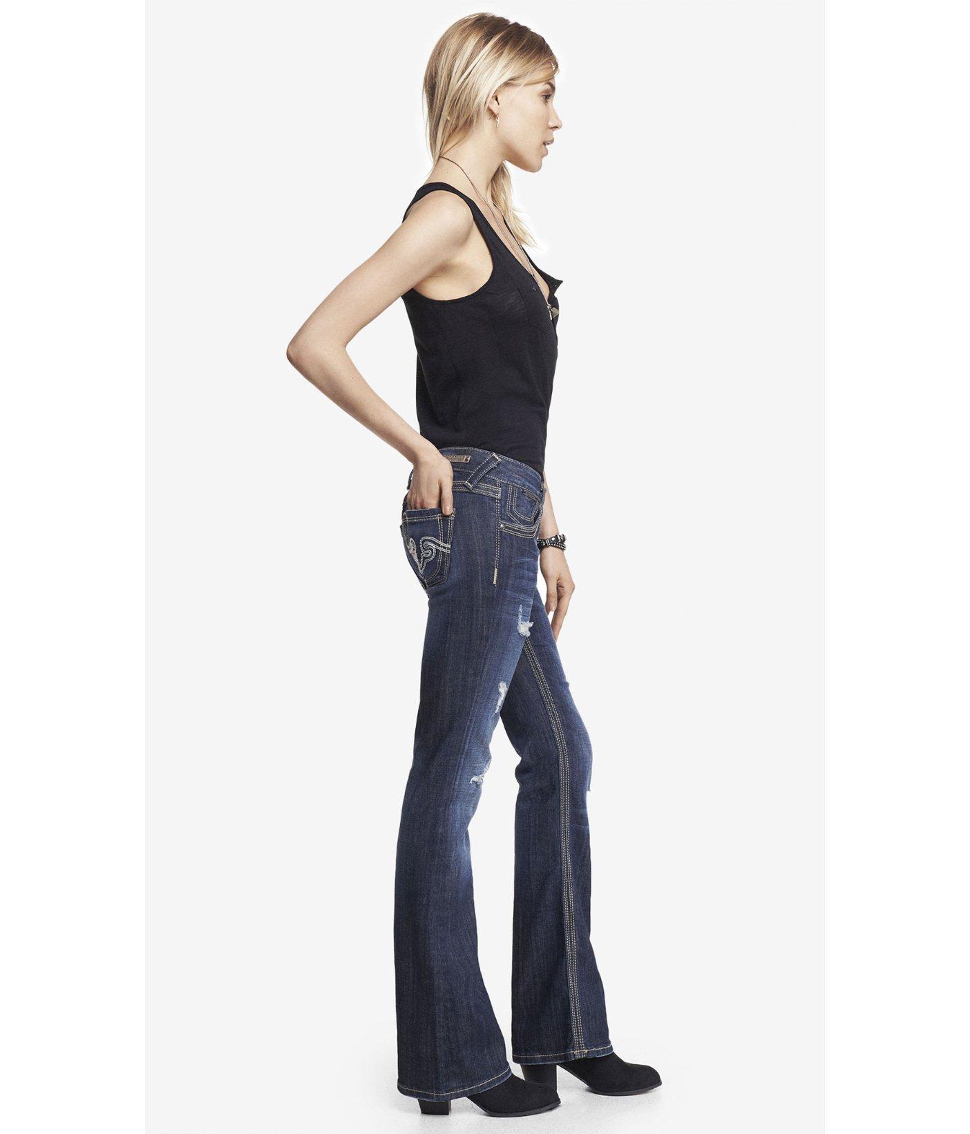 Express Blue Rerock Super Thick Stitch Boot Cut Jean