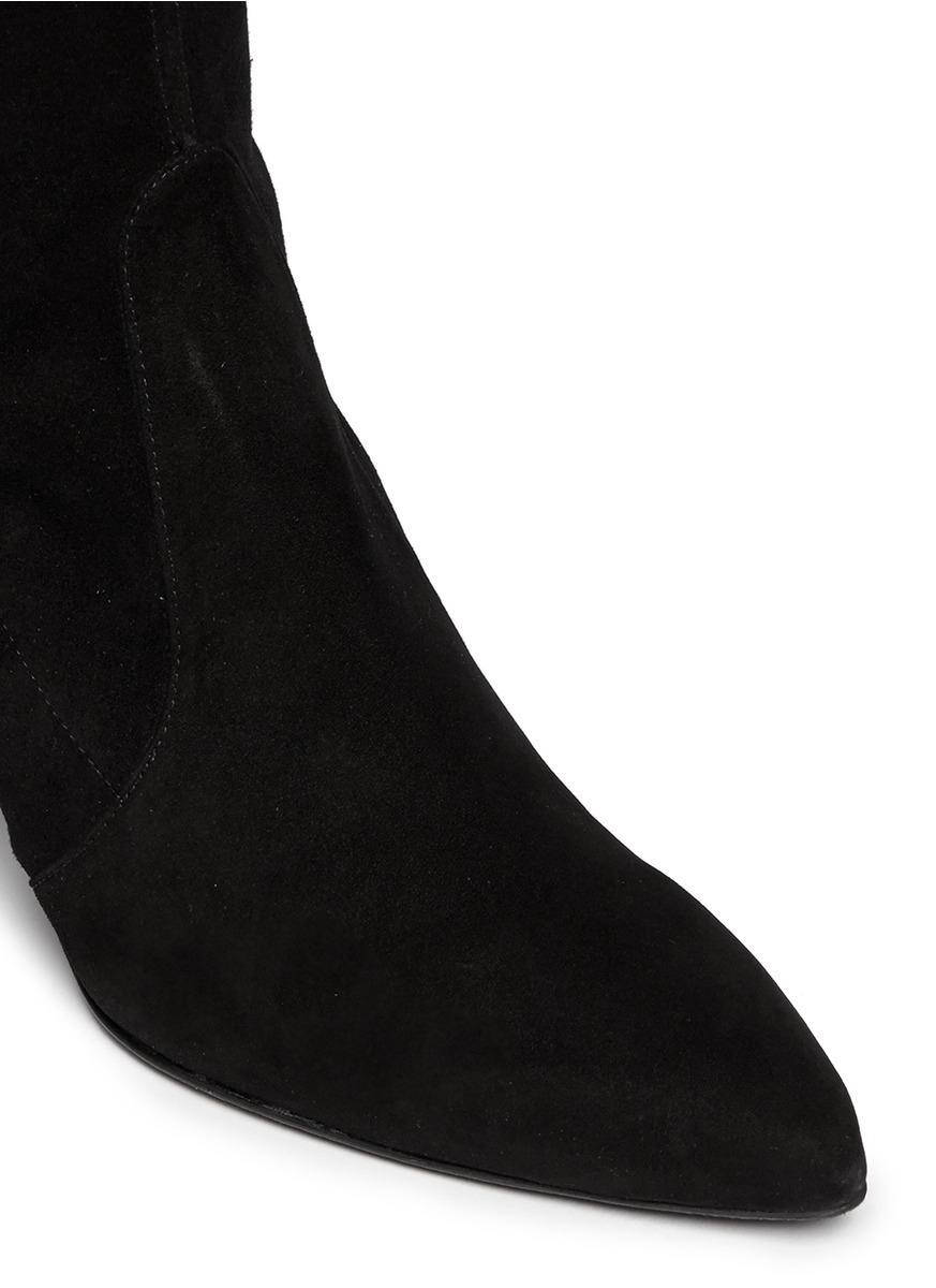 Stuart Weitzman Cool Boot Suede Knee High Boots In Black