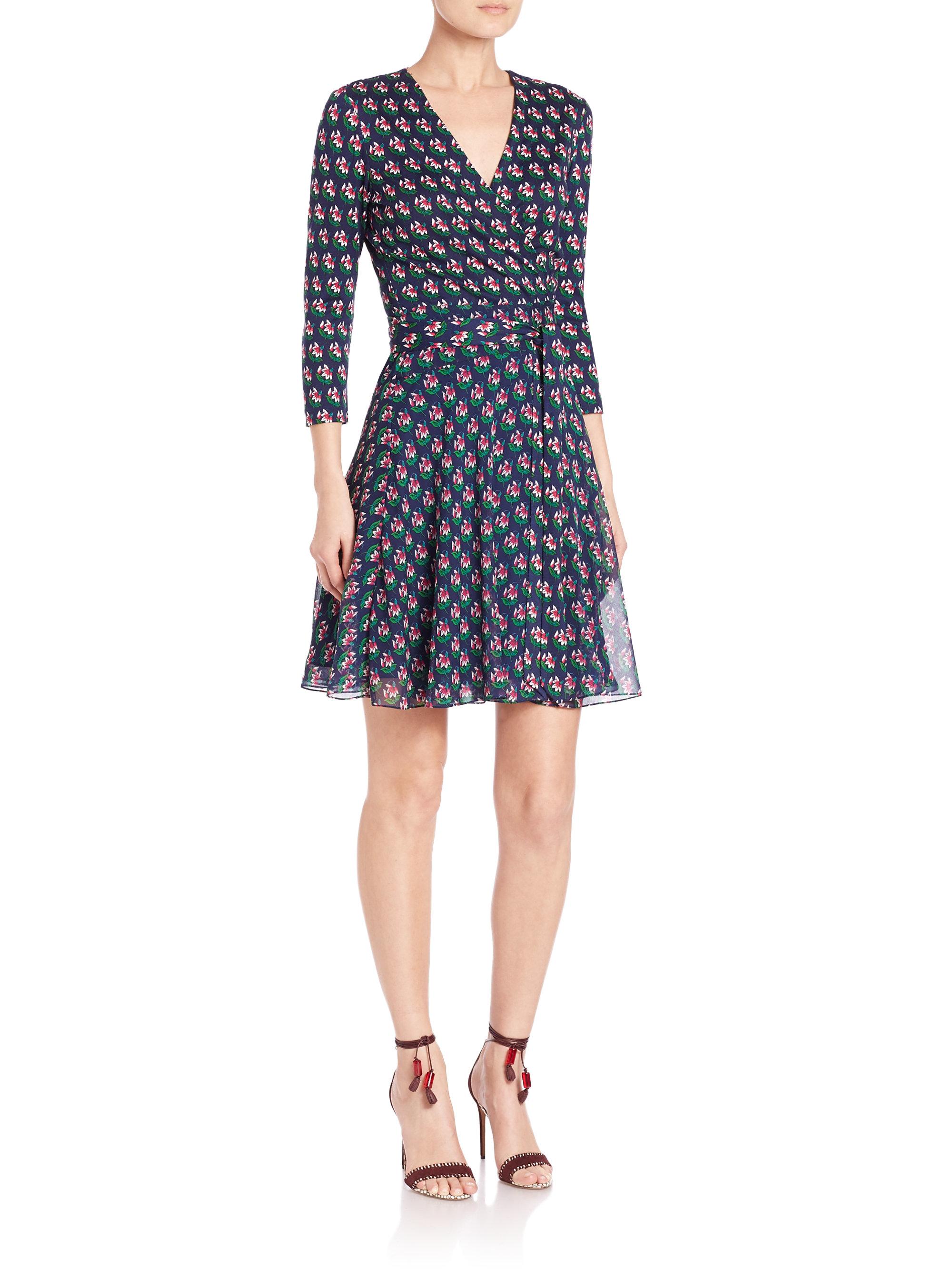 Diane Von Furstenberg Irina Printed Silk Wrap Dress In