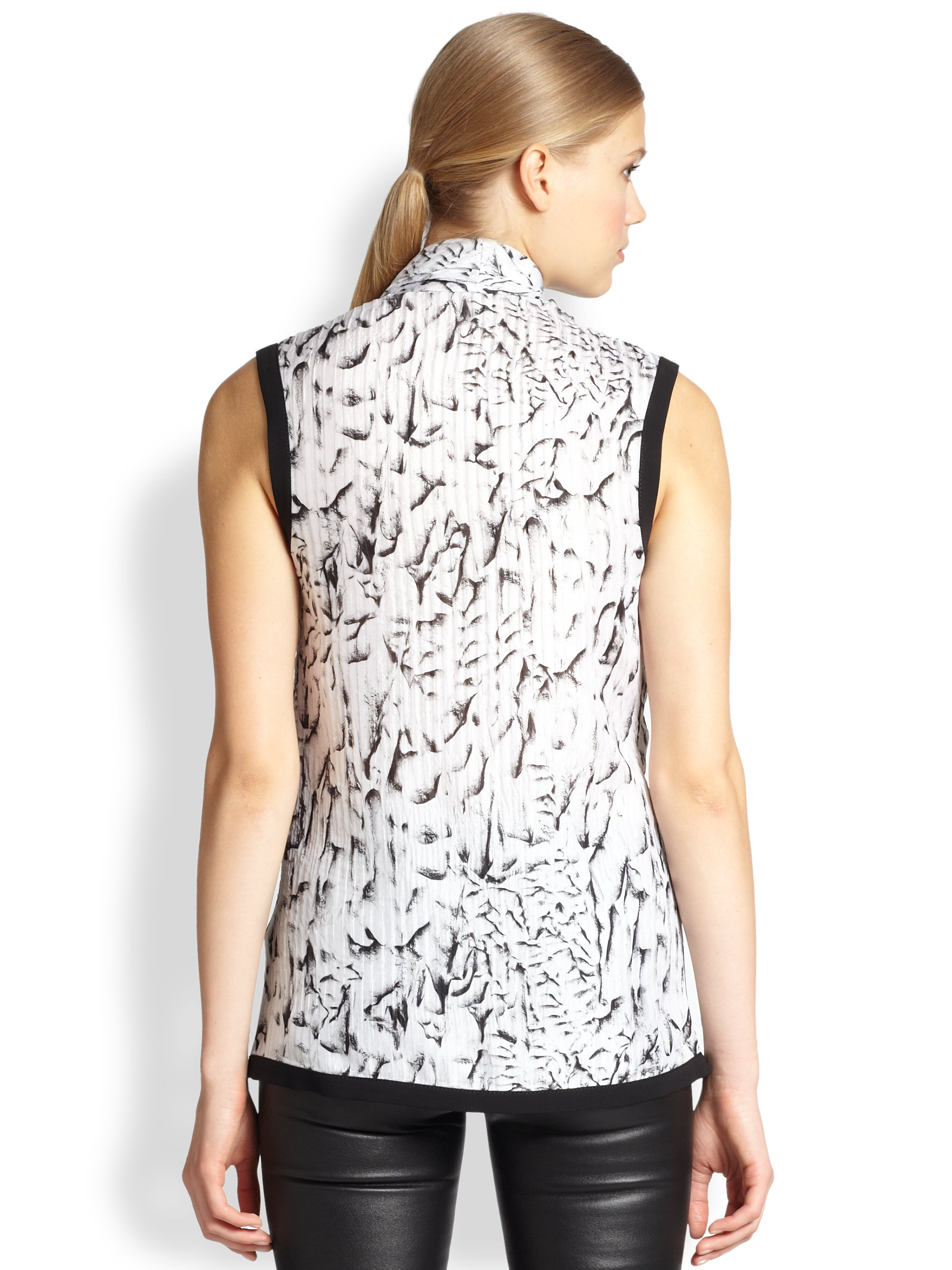 Helmut Lang Annex Printed Silk Draped Wrap Blouse In Black