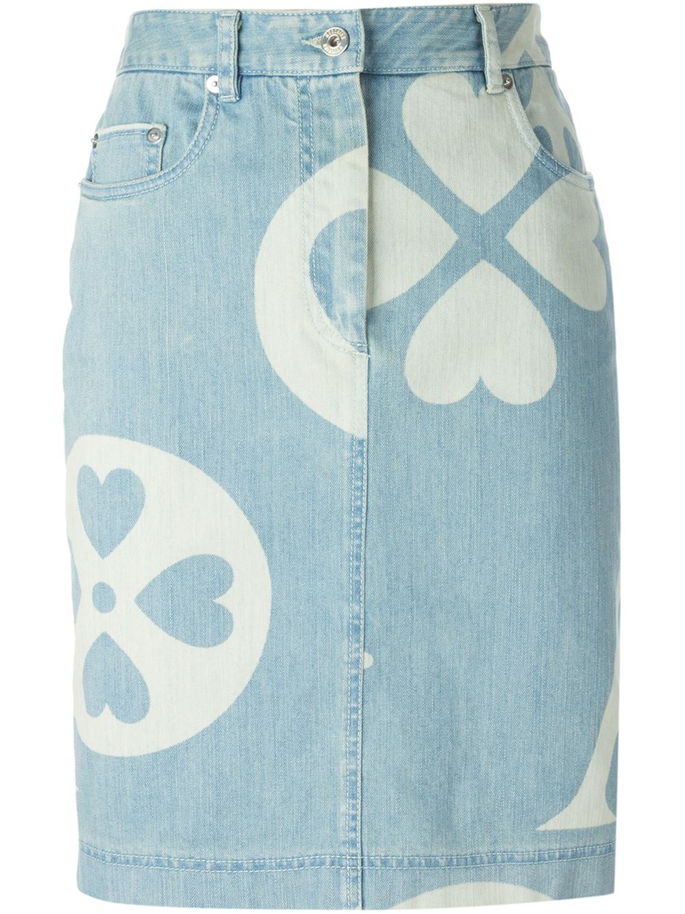 moschino printed denim skirt in blue lyst