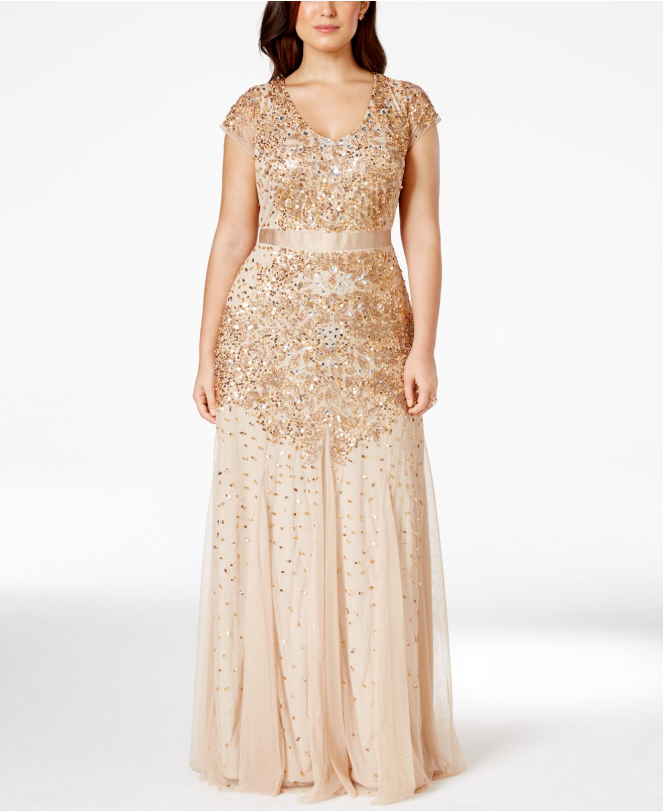 Adrianna papell Plus Size Cap-sleeve Embellished Gown in Metallic ...