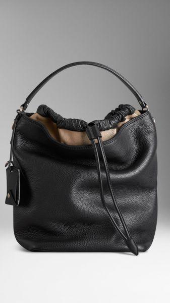 burberry medium canvas check leather hobo bag in black lyst. Black Bedroom Furniture Sets. Home Design Ideas