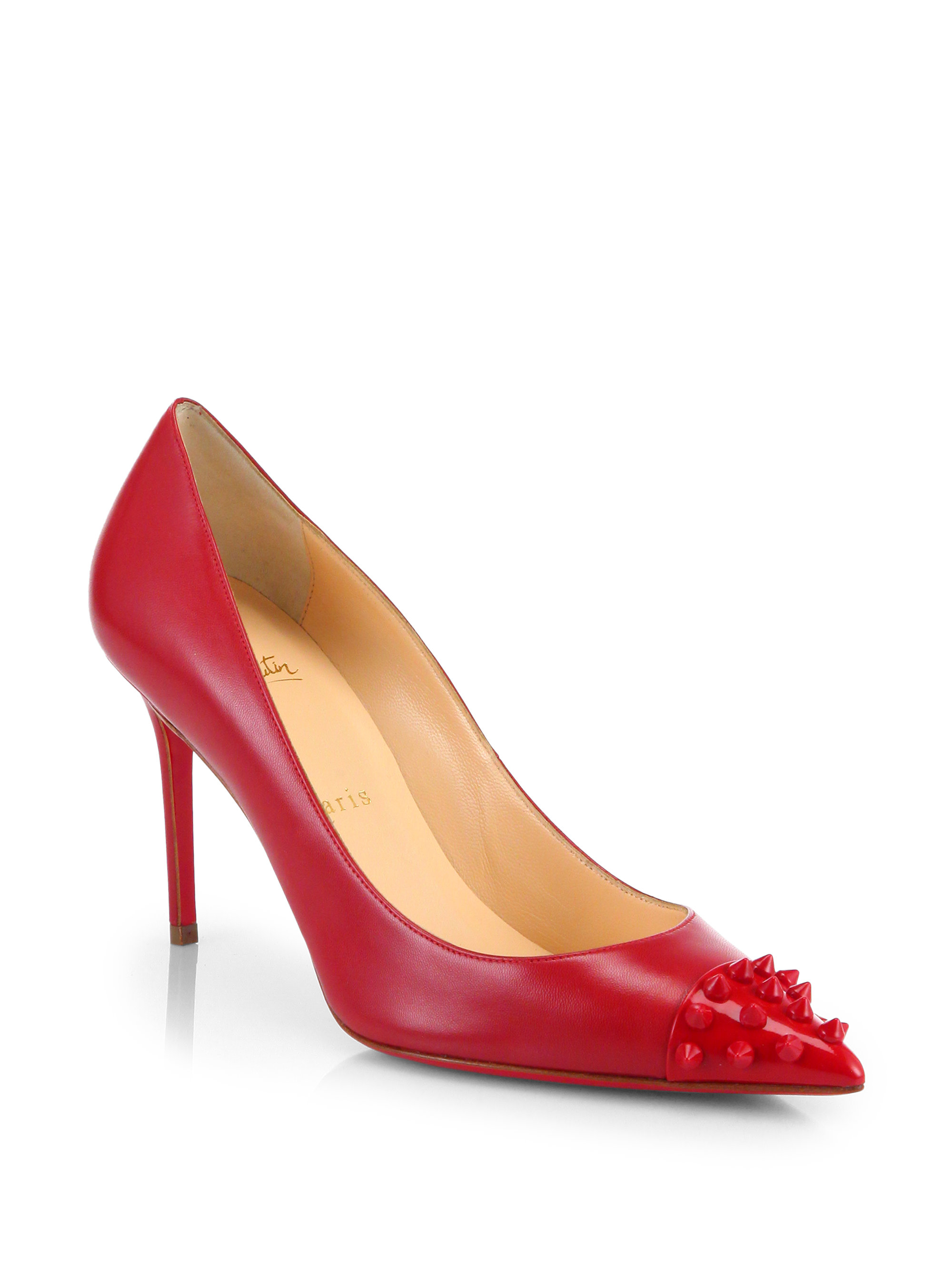 Christian louboutin Geo 85 Spiked Leather Pumps in Red | Lyst